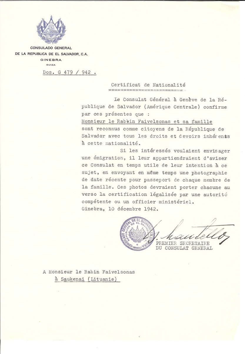 Unauthorized Salvadoran citizenship certificate made out to Rabbi Faivelsonas and his family by George Mandel-Mantello, First Secretary of the Salvadoran Consulate in Geneva and sent to them in Saukenai.
