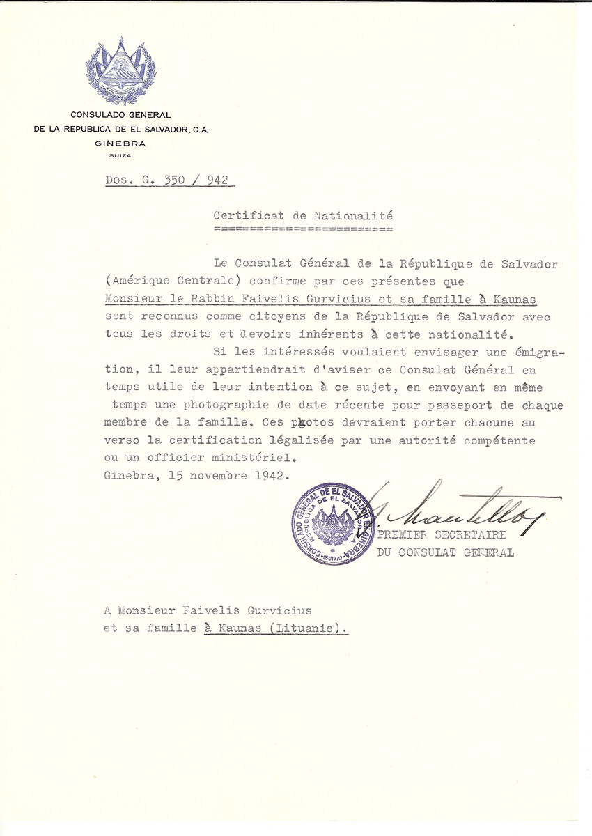 Unauthorized Salvadoran citizenship certificate made out to Rabbi Faivelis Gurvicius and his family by George Mandel-Mantello, First Secretary of the Salvadoran Consulate in Geneva and sent to them in Kaunas.