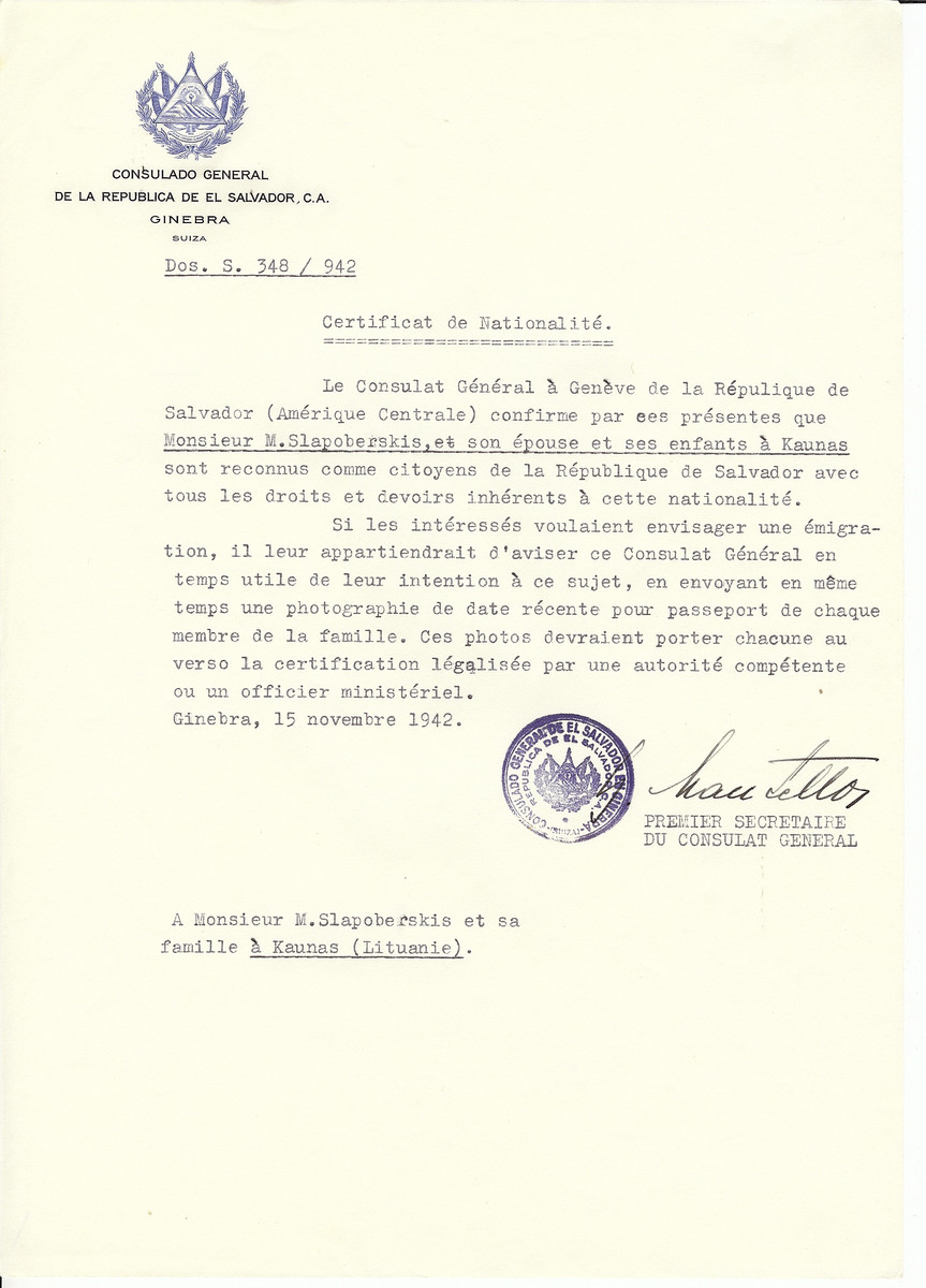 Unauthorized Salvadoran citizenship certificate made out to M. Slapoberskis, his wife and children by George Mandel-Mantello, First Secretary of the Salvadoran Consulate in Geneva and sent to them in Kaunas.