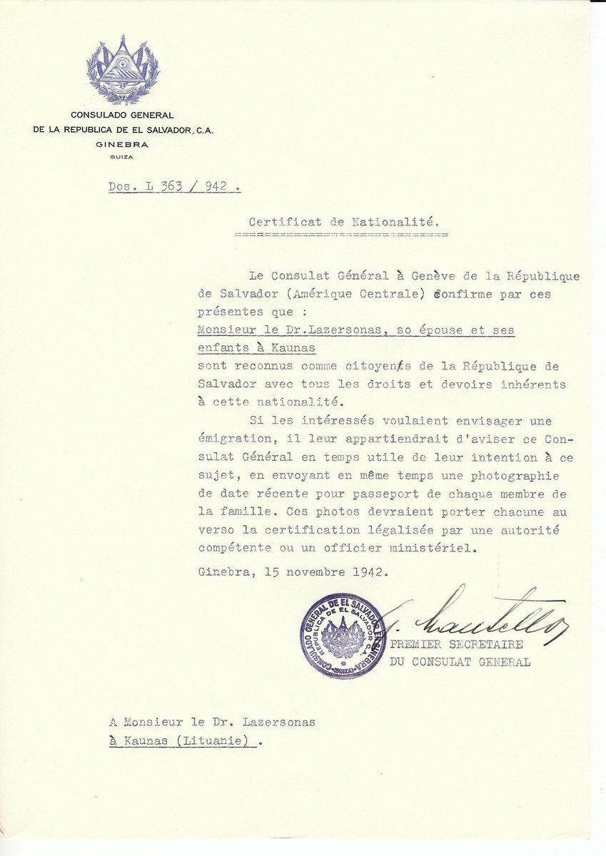 Unauthorized Salvadoran citizenship certificate made out to Dr. Lazersonas, his wife and children by George Mandel-Mantello, First Secretary of the Salvadoran Consulate in Geneva and sent to them in Kaunas.