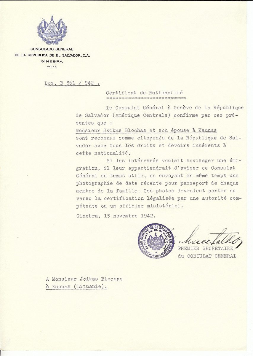 Unauthorized Salvadoran citizenship certificate made out to Jcikas Blochas and his wife by George Mandel-Mantello, First Secretary of the Salvadoran Consulate in Geneva and sent to them in Kaunas.