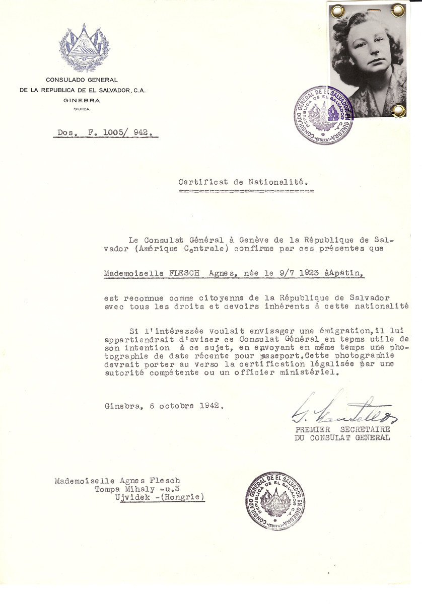 Unauthorized Salvadoran citizenship certificate made out to Agnes Flesch (b. July 9, 1923 in Apatin) by George Mandel-Mantello, First Secretary of the Salvadoran Consulate in Geneva and sent to her in Ujvidek