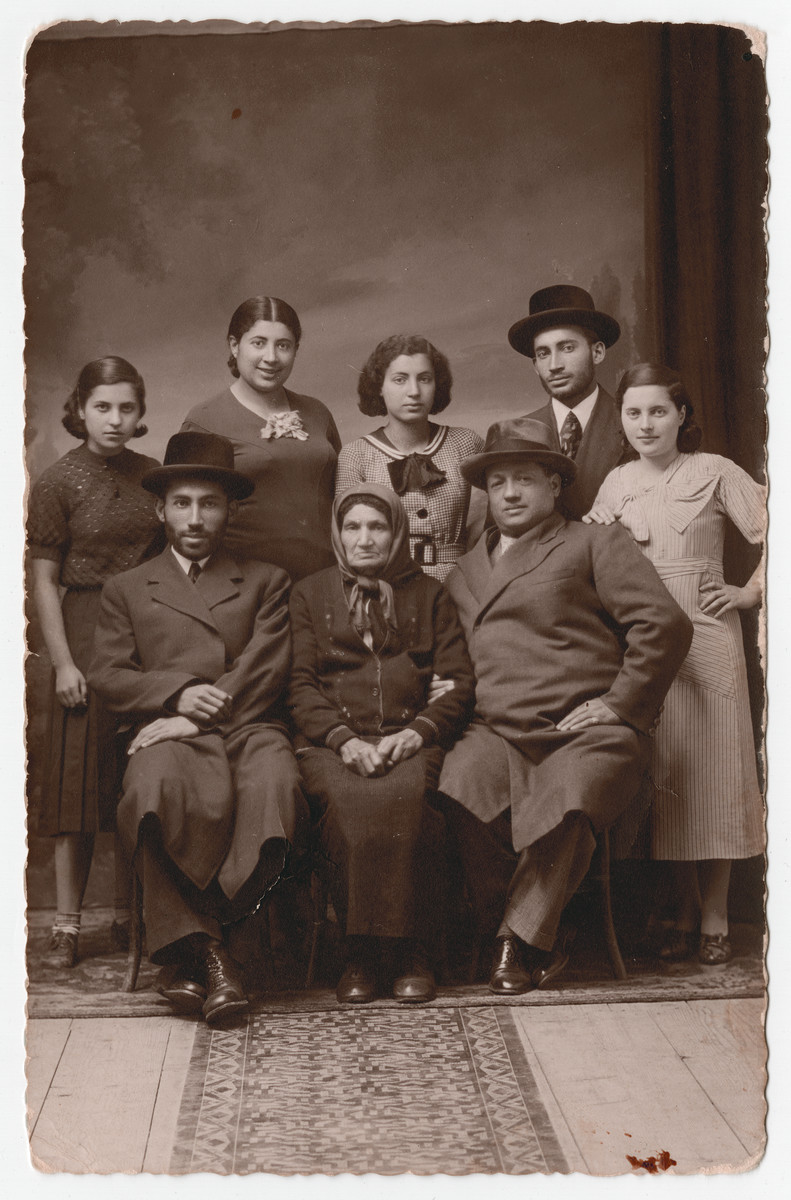 Prewar studio portrait of the Kalb family in Strzyzow, Poland.  Seated left to right are Ben Zion Kalb, his grandmother and Uncle Joseph (who immigrated to Australia). Standind are unidentified, Malka Kalb Halperin (who perished), Slava Kalb, Mendel Kalb (who perished) and unidentified.