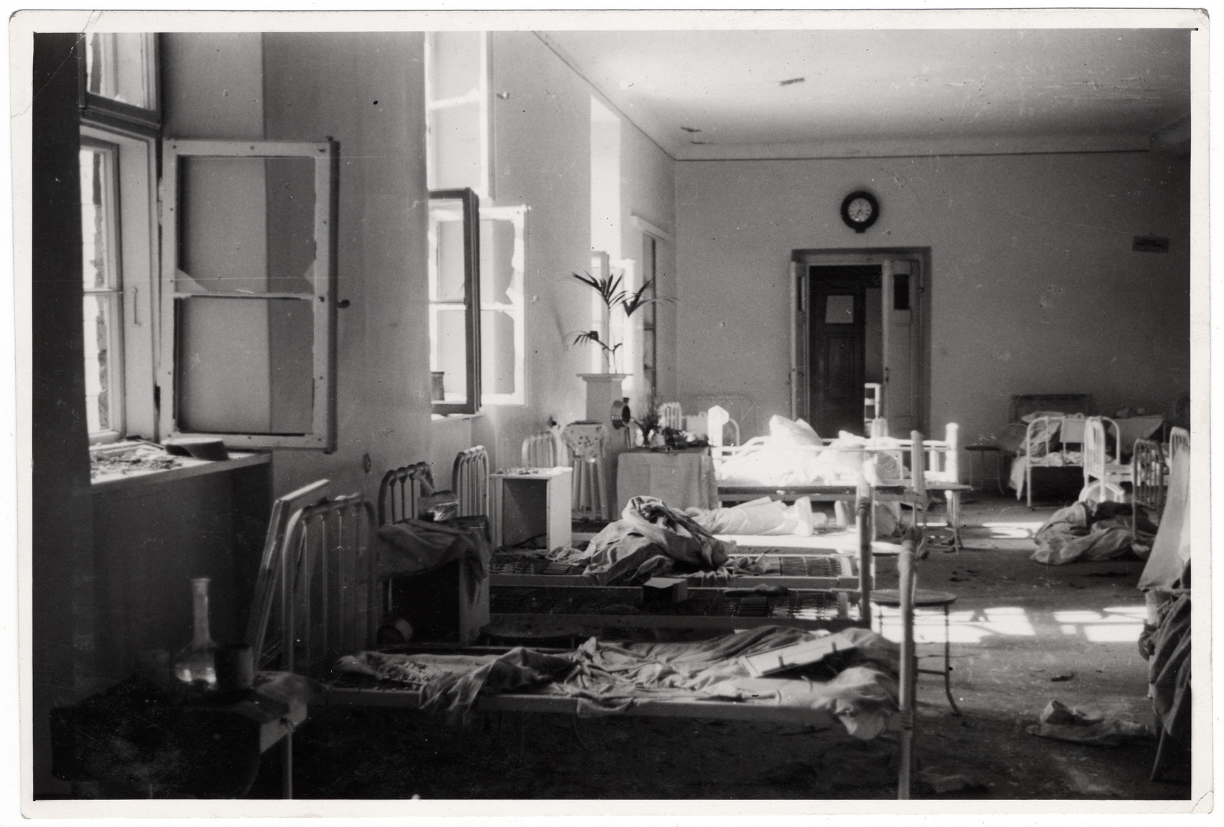 Interior view of a ward in the Catholic Hospital of the Transfiguration (one of Warsaw's largest hospitals) that is completely destroyed.