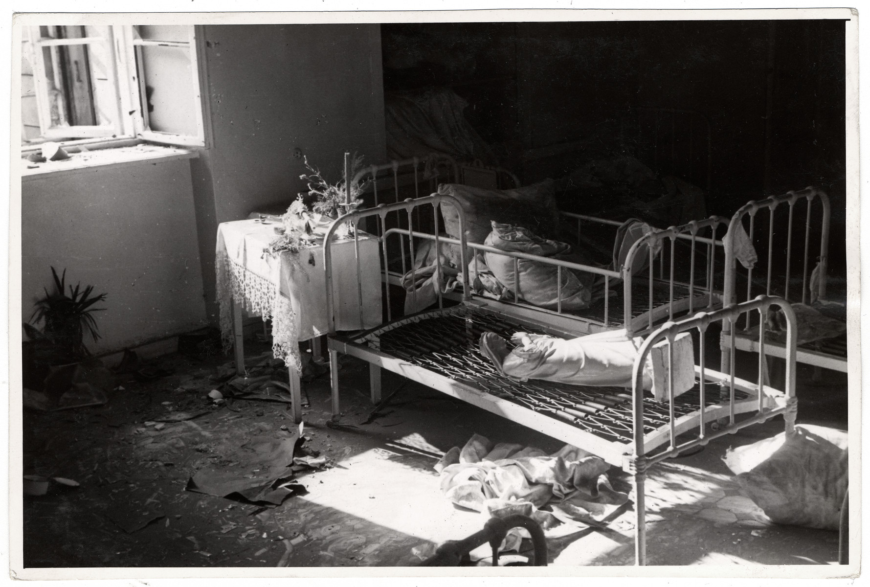 Interior view of the partially destroyed Catholic Hospital of the Transfiguration, one of the largest hospitals in Warsaw.