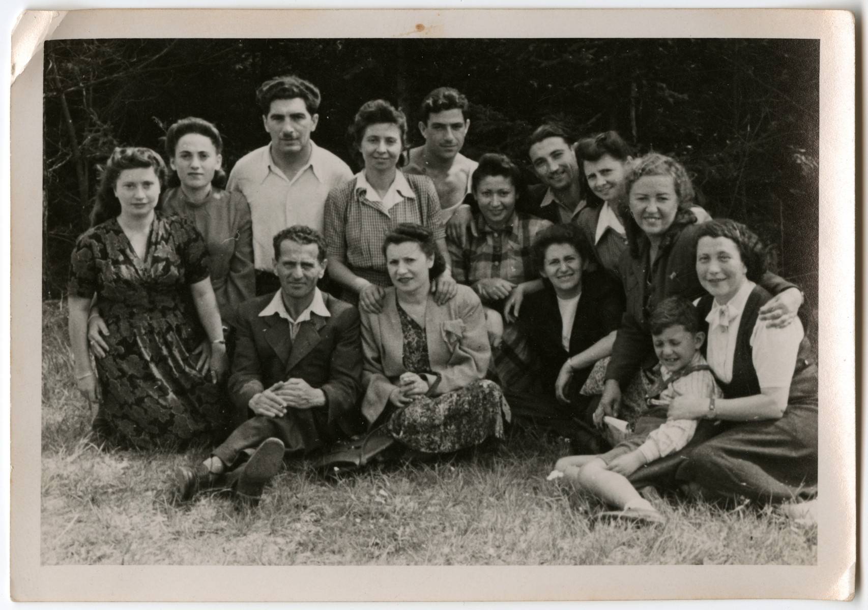 Group portrait of the teachers of the Hebrew school of the Schlachtensee displaced persons' camp.  Among those pictured is Laura Kimmel (the English teacher), second row, fifth from the right.