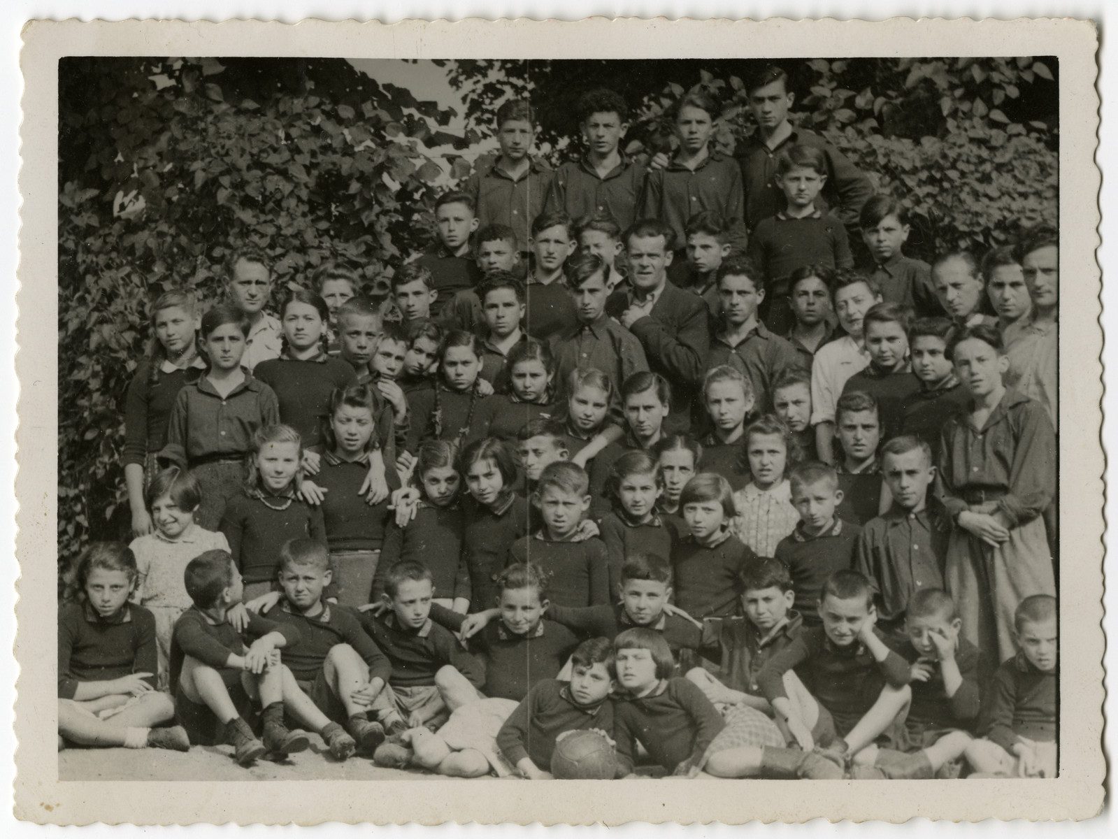 Group portrait of Jewish orphans being cared for in the Schlachtensee displaced persons' camp.
