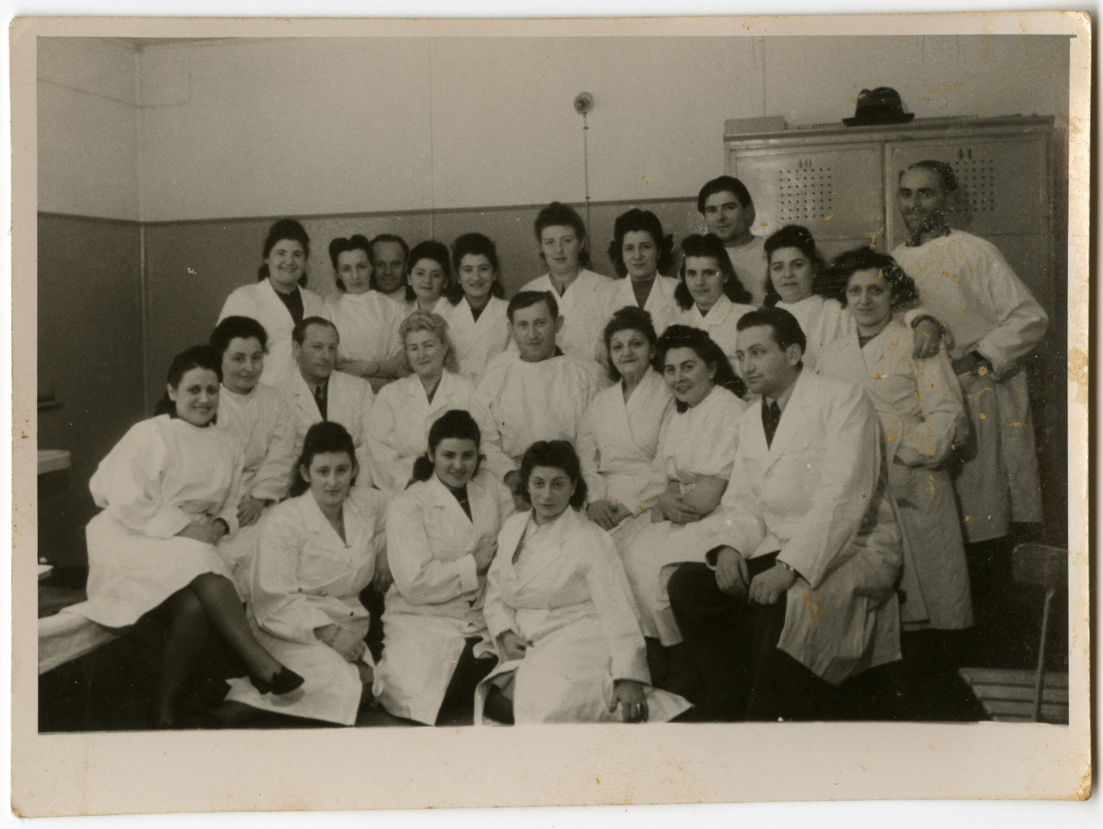 Group portrait of the physicians and nurses in the hospital of the Schlachtensee displaced persons' camp.  Among those pictured are Alfred Kimmel (chief physician) second row, third from left.