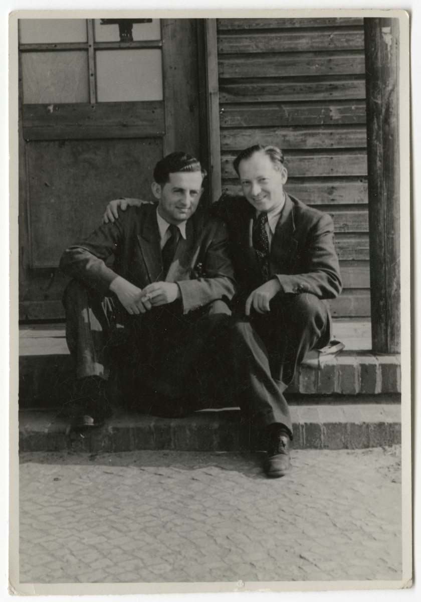 Portrait of two men in the Schlachtensee displaced persons' camp.  Dr. Alfred Kimmel is pictured on the right.