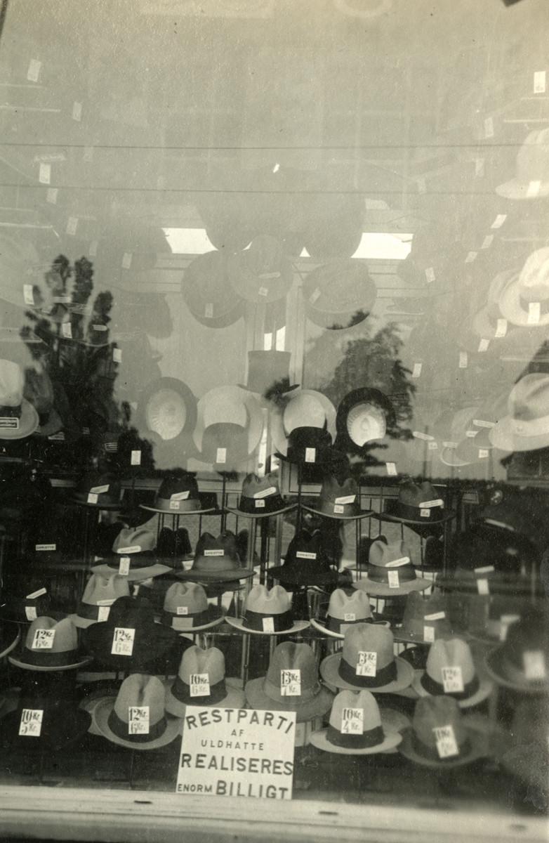 Store window of Moritz Oestermann's hat shop in Copenhagen.