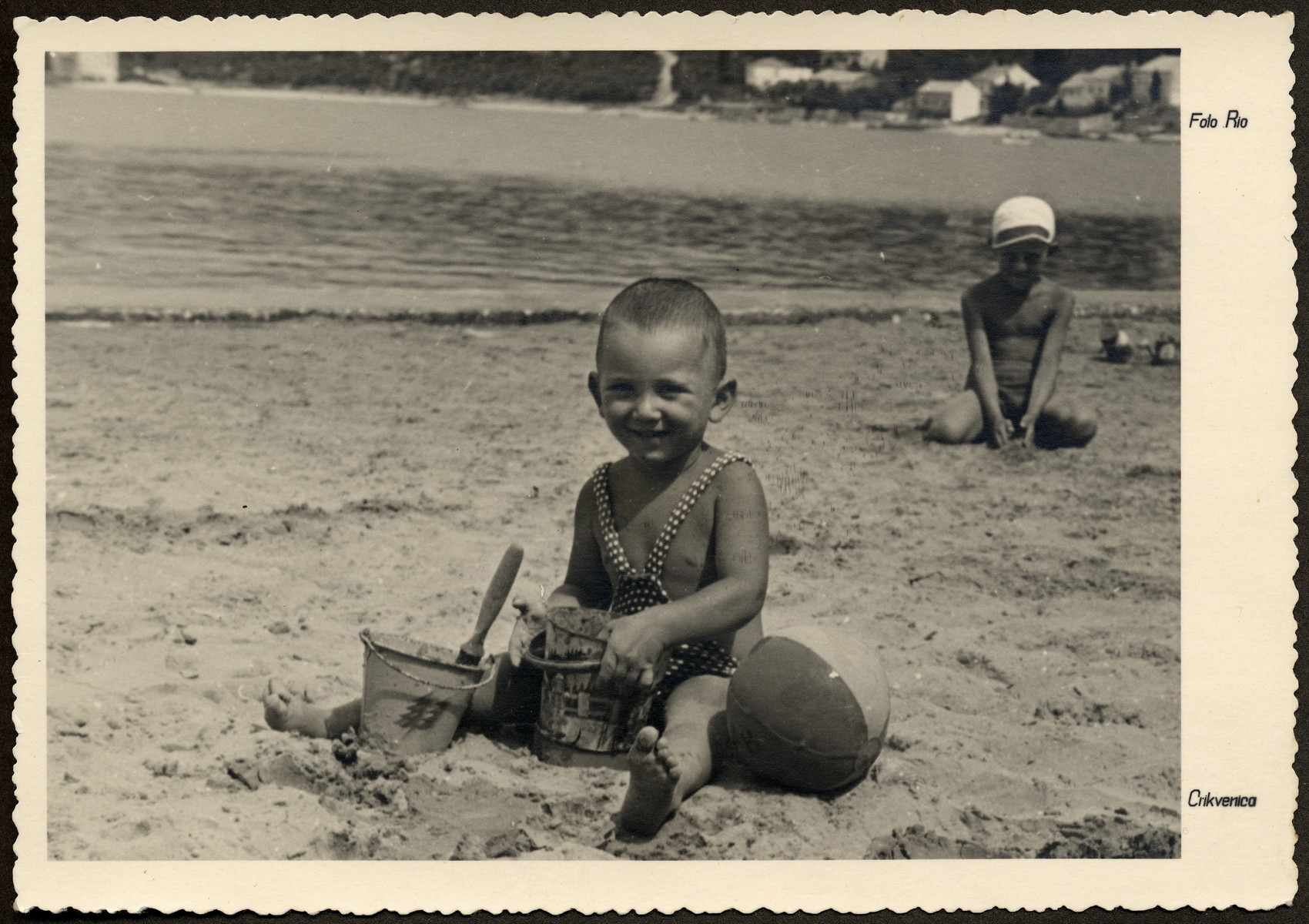 Manny Mandel plays on the beach with his toys in Crikvenica on the Dalmation coast .