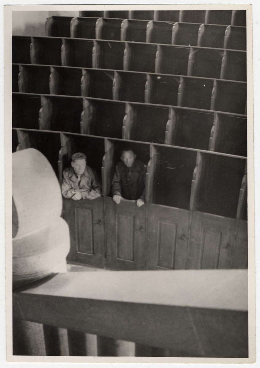 American military chaplains Mitchell and Burt pose inside the chapel of Landsberg prison.