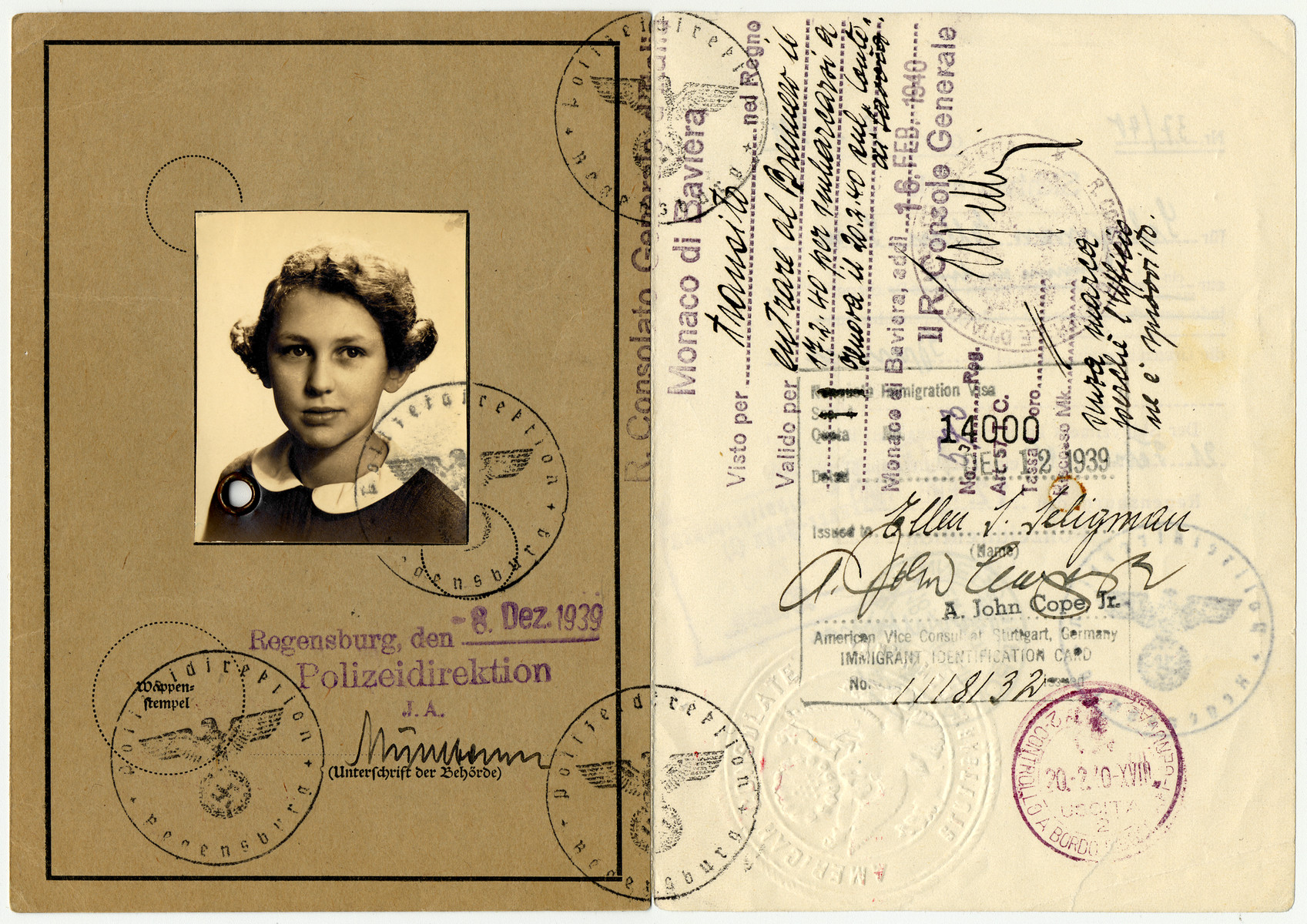 Kinderausweis (child's ID card) issued to Ellen Sara Seligman.   This card includes a transit visa allowing her to cross from Germany into Italy via the Brenner Pass, in order to go to the United States.