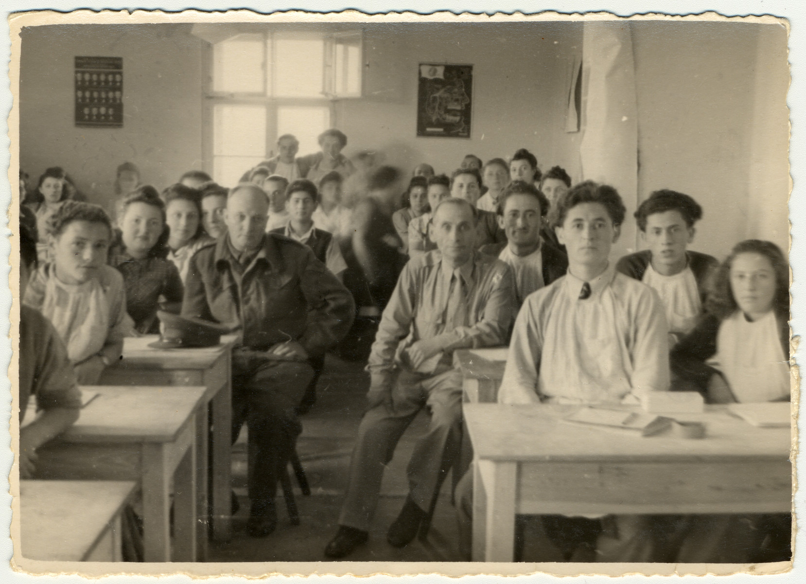 Students at the ORT dental technician school sit at their desks in the Bergen-Belsen displaced persons camp.  Erno Pollak is pictured in the second row on the far right.