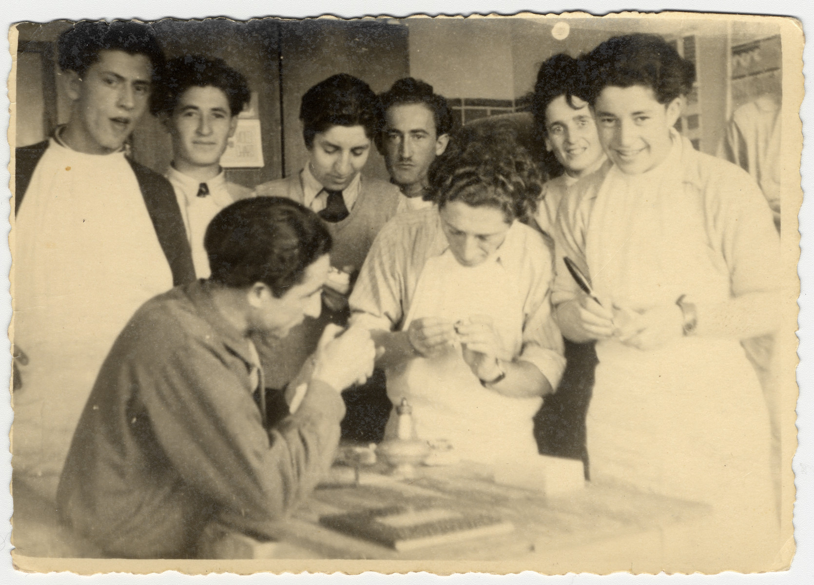 A group of young people learn dentistry in an ORT vocational school in the Bergen-Belsen displaced persons camp.