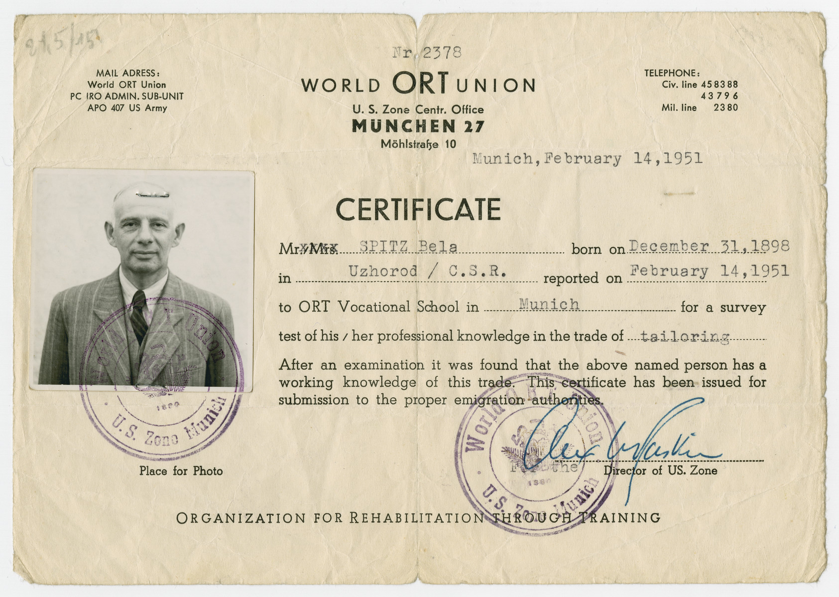 ORT vocational certificate issued to Bela Spitz attesting to the fact that he is a trained tailor.