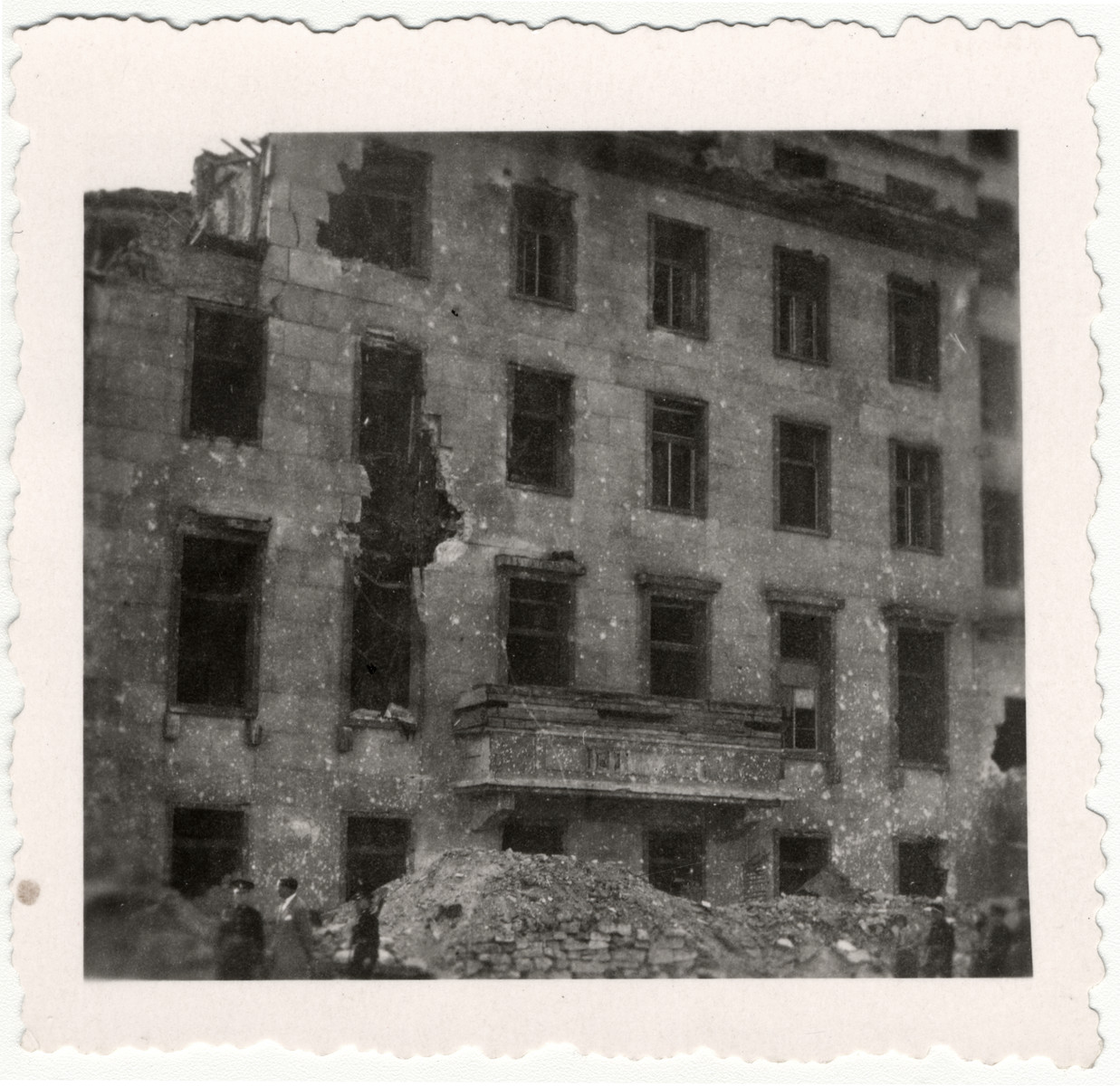 View of the bombed out Chancellery in Berlin.   Adolf Hitler had previously given his speeches from the balcony.