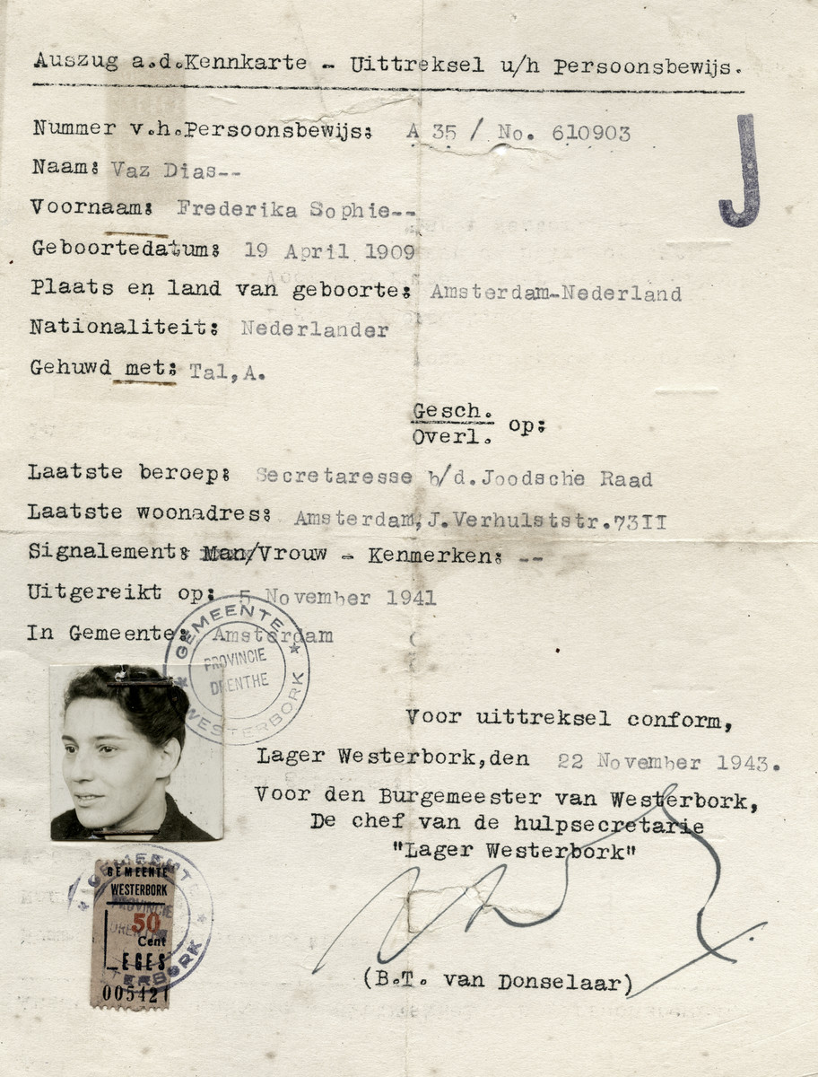 Identification paper issued to Federika Tal stating that she works for the Joodsche Raad (Jewish Council).