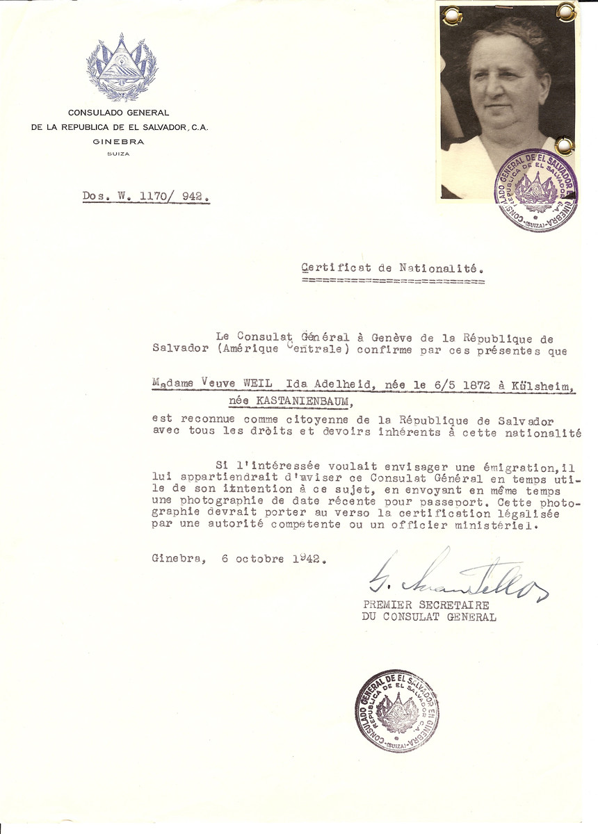Unauthorized Salvadoran citizenship certificate issued to Ida Adelheid (Kastanienbaum) Weil (b. May 6 1872, in Kuelsheim), by George Mandel-Mantello, First Secretary of the Salvadoran Consulate in Switzerland.  Ida Adelheid Weil survived the Holocaust and is registered in the Survivor's Registry.