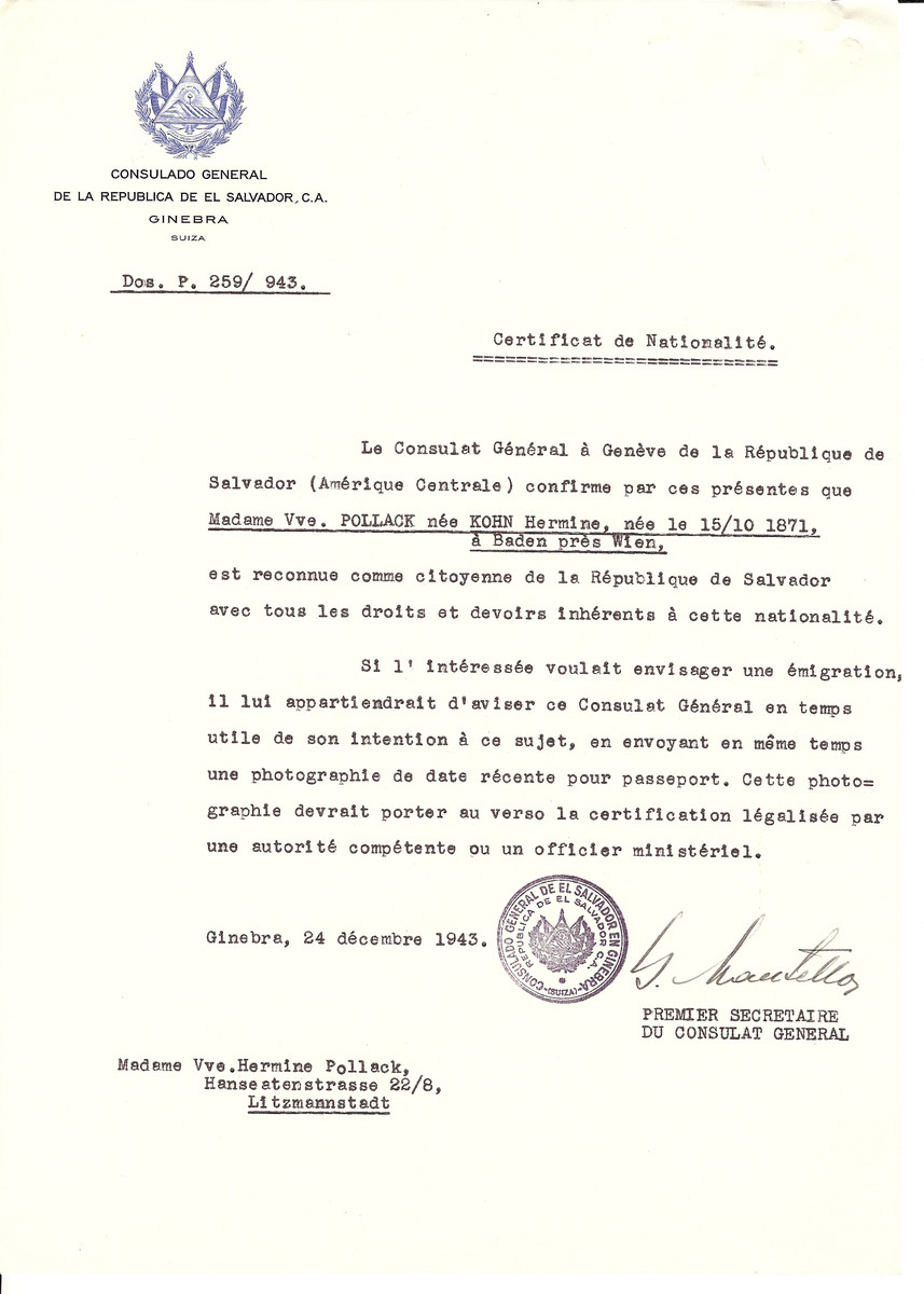 Unauthorized Salvadoran citizenship certificate issued to Hermine (Kohn) Pollack (October 15 1871, Vienna, Austria), by George Mandel-Mantello, First Secretary of the Salvadoran Consulate in Switzerland. The document was mailed to Hermine's residence in Lodz, Poland.