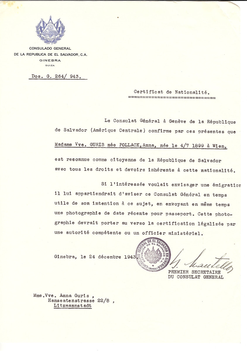 Unauthorized Salvadoran citizenship certificate issued to Anna (Pollack) Guris (b. July 4, 1899, Vienna) by George Mandel-Mantello, First Secretary of the Salvadoran Consulate in Switzerland. The document was mailed to the Anna's residence in Lodz, Poland.