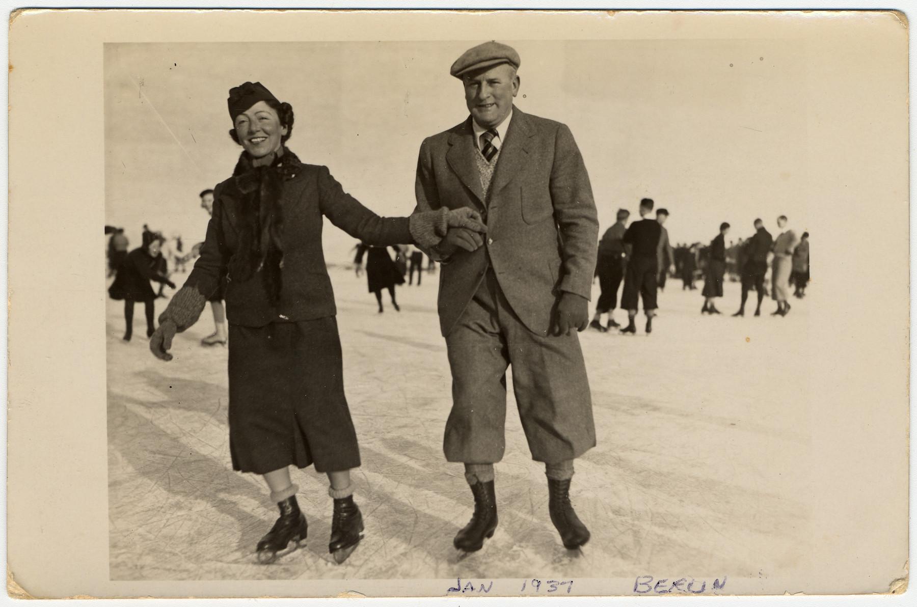 Kurt and Helene Liebenau go skating in Berlin in 1937.