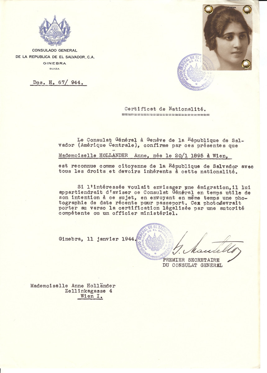 Unauthorized Salvadoran citizenship certificate issued to Anne Hollander (b. January 20 1895, Vienna, Austria), by George Mandel-Mantello, First Secretary of the Salvadoran Consulate in Switzerland. The document was mailed to Anne's residence in Vienna.