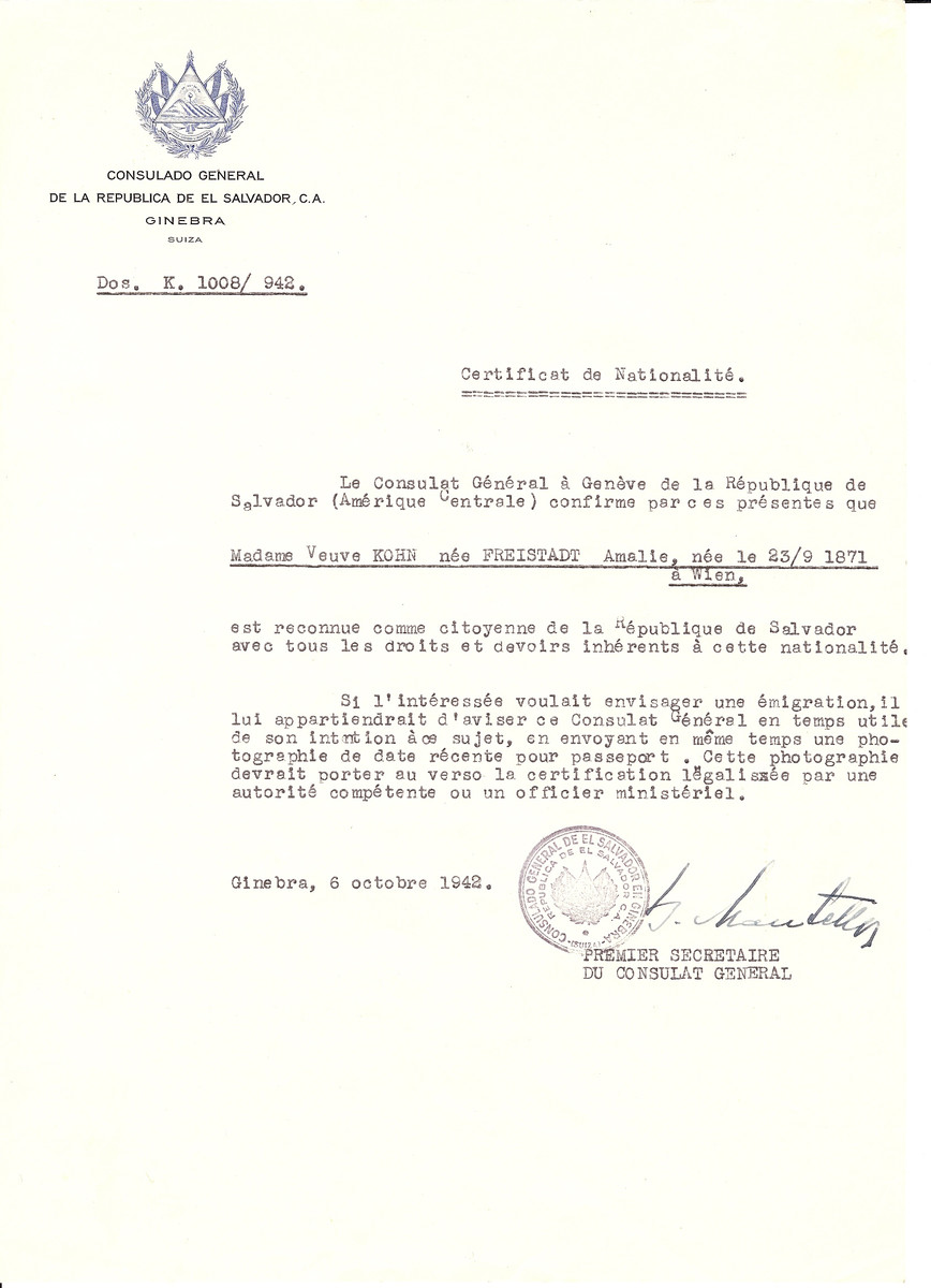 Unauthorized Salvadoran citizenship certificate issued to Amalie (Freistadt) Kohn (b. September 23 1871, Vienna, Austria), by George Mandel-Mantello, First Secretary of the Salvadoran Consulate in Switzerland.