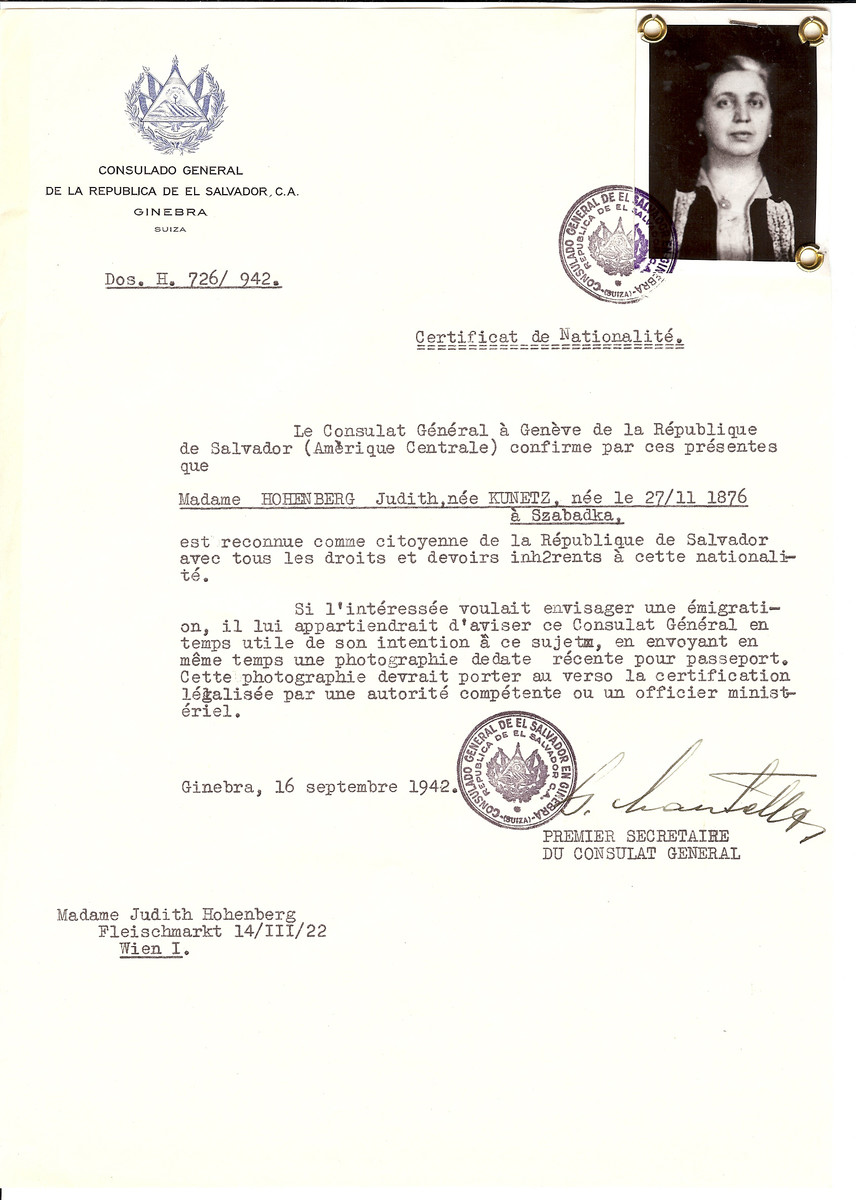 Unauthorized Salvadoran citizenship certificate issued to Judith (Kunetz) Hohenburg (November 27 1876, Subotica, Yugoslavia), by George Mandel-Mantello, First Secretary of the Salvadoran Consulate in Switzerland. The document was mailed to Judith's residence in Vienna.