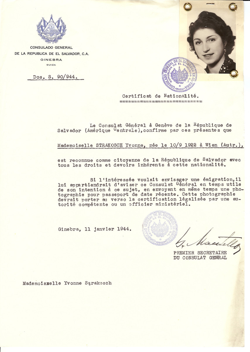 Unauthorized Salvadoran citizenship certificate issued to Yvonne Strakosch (b. September 10 1922, Vienna, Austria), by George Mandel-Mantello, First Secretary of the Salvadoran Consulate in Switzerland.
