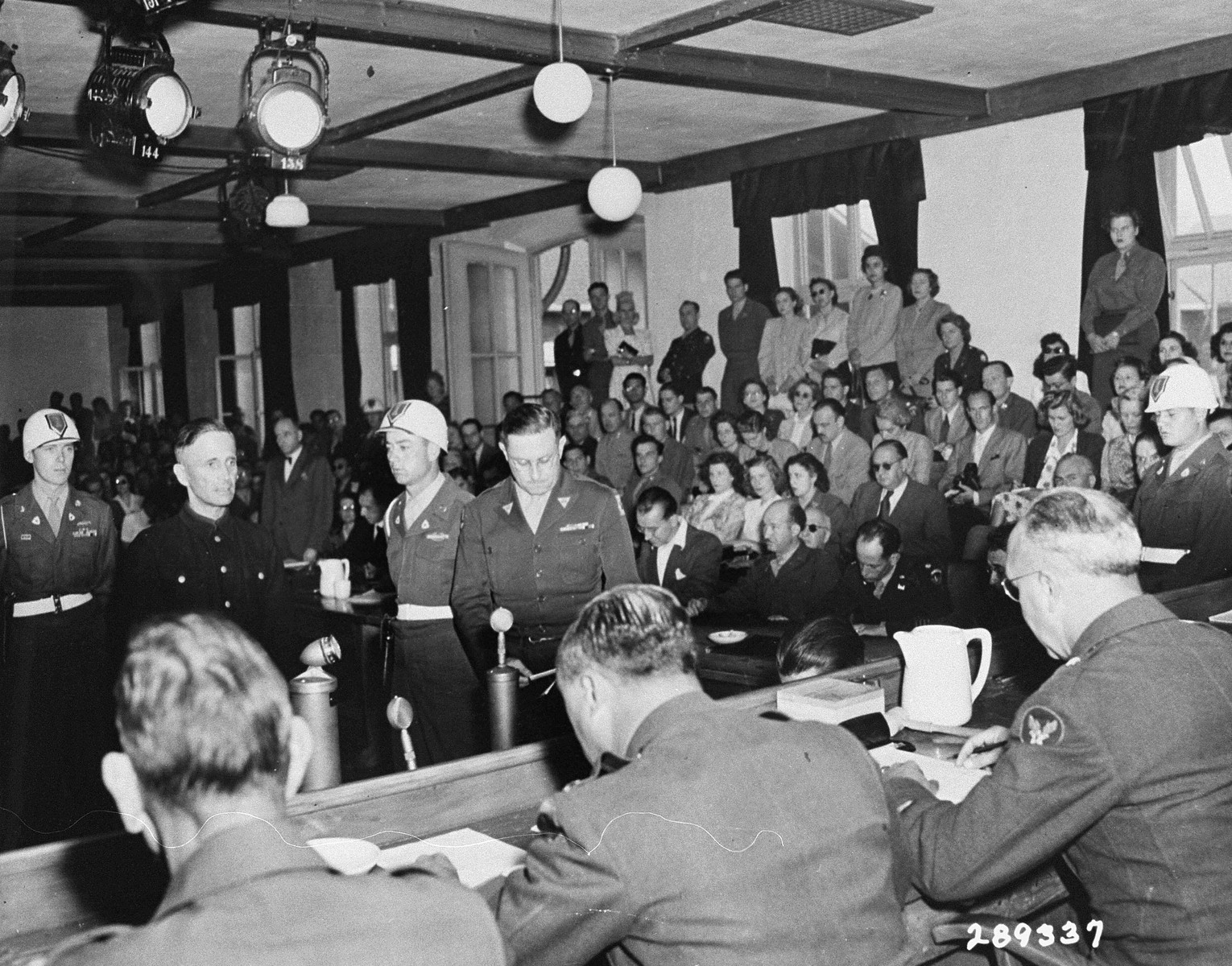 Former SS-Obergruppenfuerher Josias Erbprinz zu Waldeck-Pyrmont is sentenced to life in prison by Brigadier General Emil C. Kiel at the trial of former camp personnel and prisoners from Buchenwald.