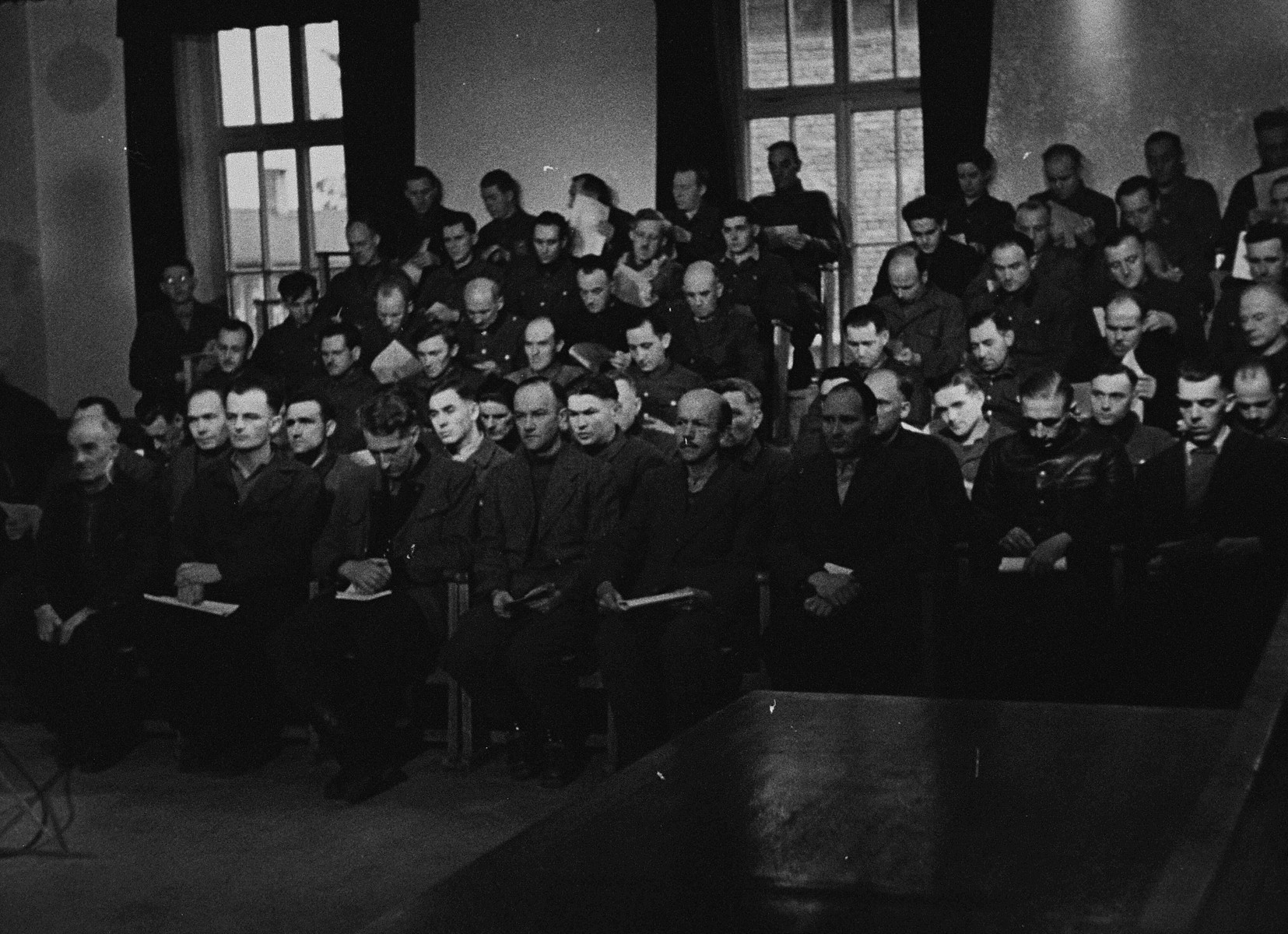 View of the defendants' dock during a session of the trial of 61 former camp personnel and prisoners from Mauthausen.
