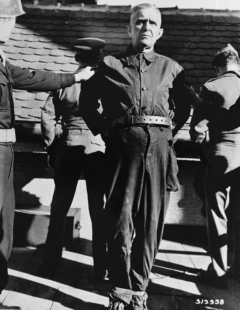 Convicted war criminal Wladislaw Dopierla is prepared for execution on the scaffold of the prison in Landsberg.