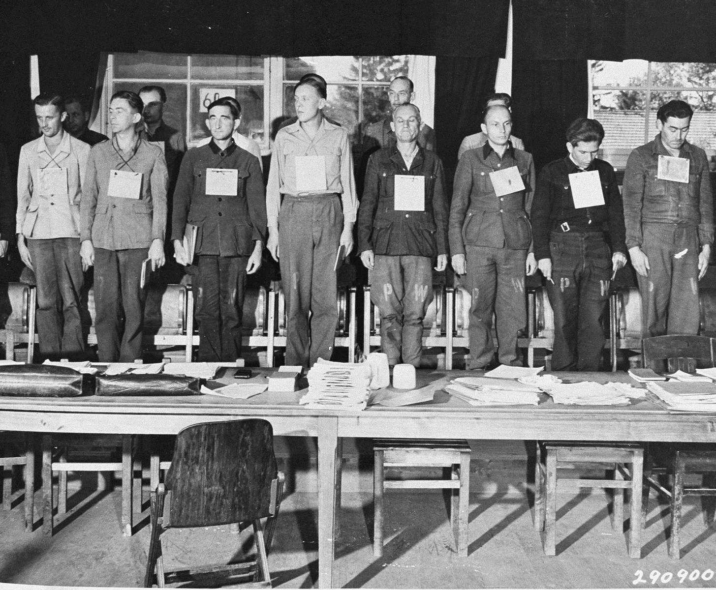 Sixteen of the nineteen defendants on trial for war crimes committed during the war at Dora-Mittelbau.