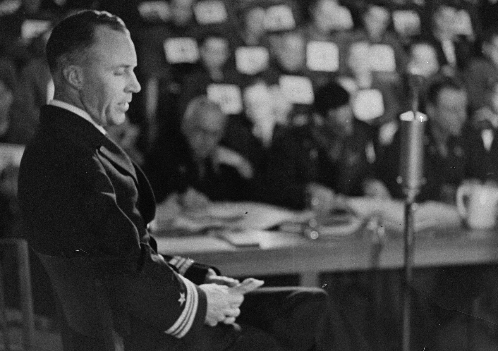 Lieutenant Jack Taylor testifies for the prosecution at the trial of 61 former camp personnel and prisoners from Mauthausen.   Lieutenant Jack Taylor (b. 1908).  Lt. Taylor served in the OSS (American Secret Service).  He was captured by the Germans and imprisoned in Mauthausen.