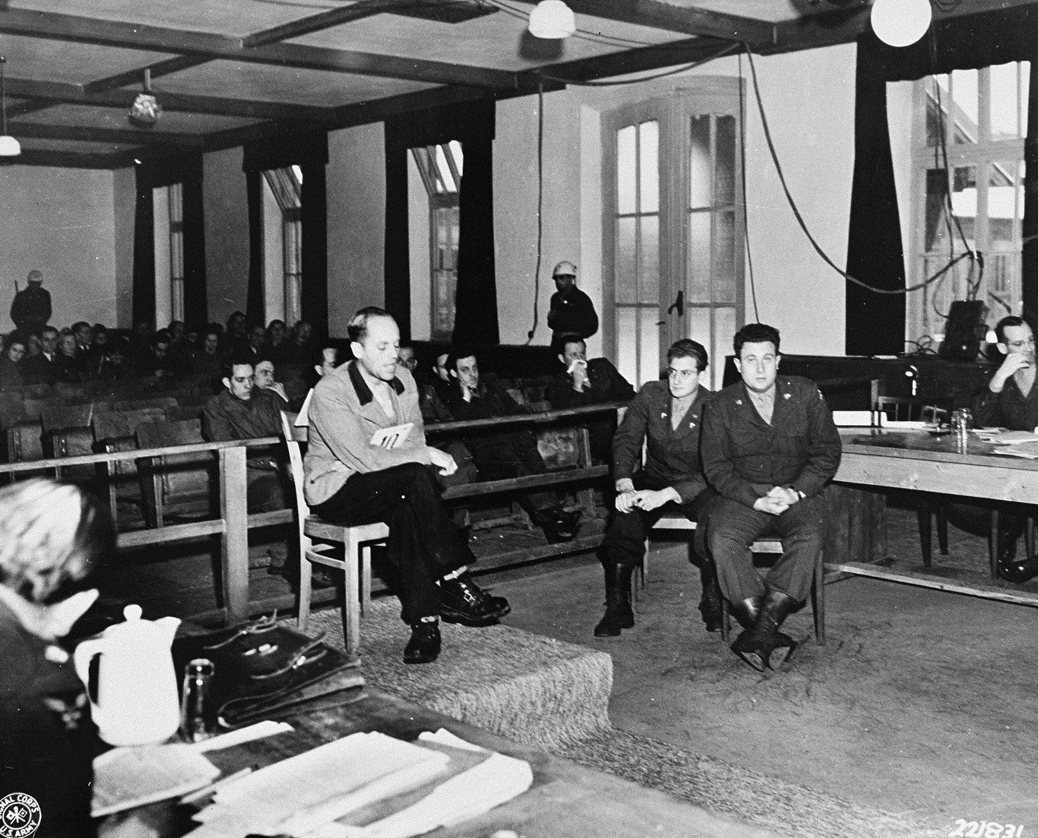 Dr. Fritz Hintermeyer, the former chief physician at Dachau, describes how 400 prisoners died daily during an epidemic, during his testimony at the trial of former camp personnel and prisoners from Dachau.
