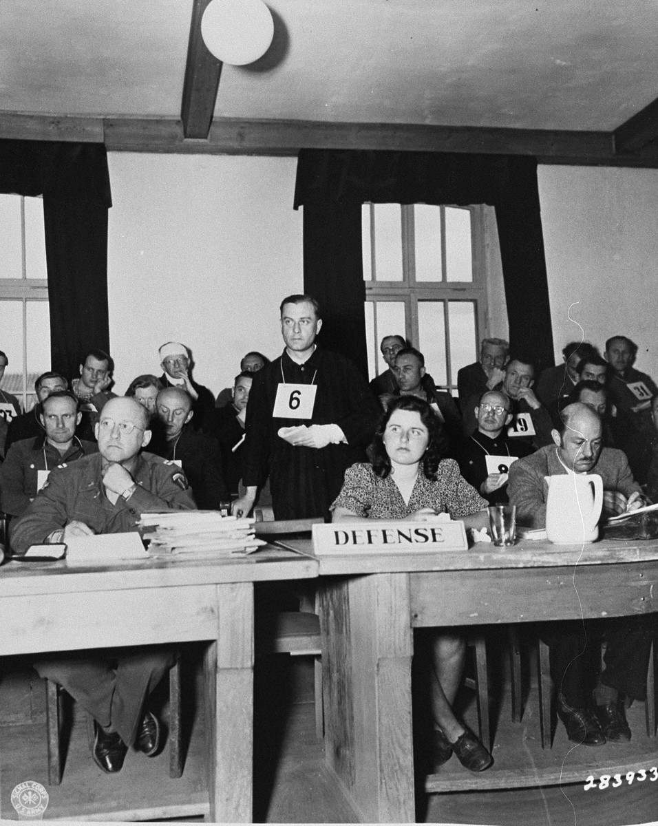 Former SS 2nd Lieutenant Dr. Hans Eisele cross-examines a witness in his own defense at the trial of former camp personnel and prisoners from Buchenwald.