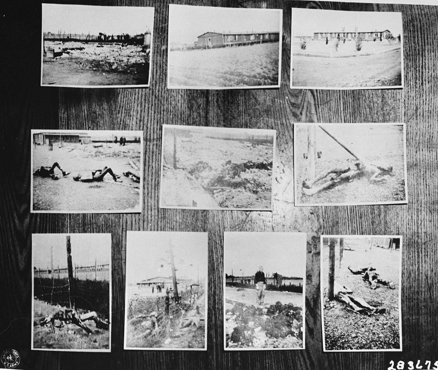 Photographic evidence of atrocities committed in the Buchenwald sub-camp of Leipzig-Thekla, submitted for the prosecution by Dr. Ernest Replat at the trial of former camp personnel and prisoners from Buchenwald.