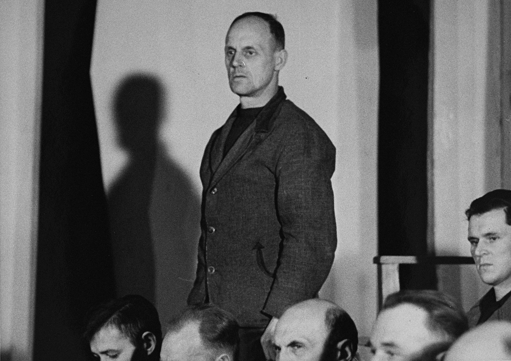 Hans Eisenhoefer, a defendant at the trial of 61 former camp personnel and prisoners from Mauthausen.