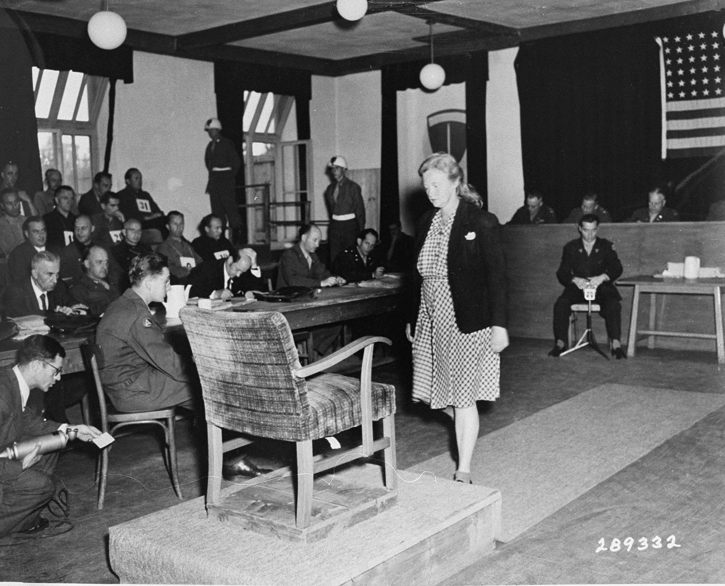 Ilse Koch takes the stand for her final statement at the trial of 31 former camp personnel and prisoners from Buchenwald.