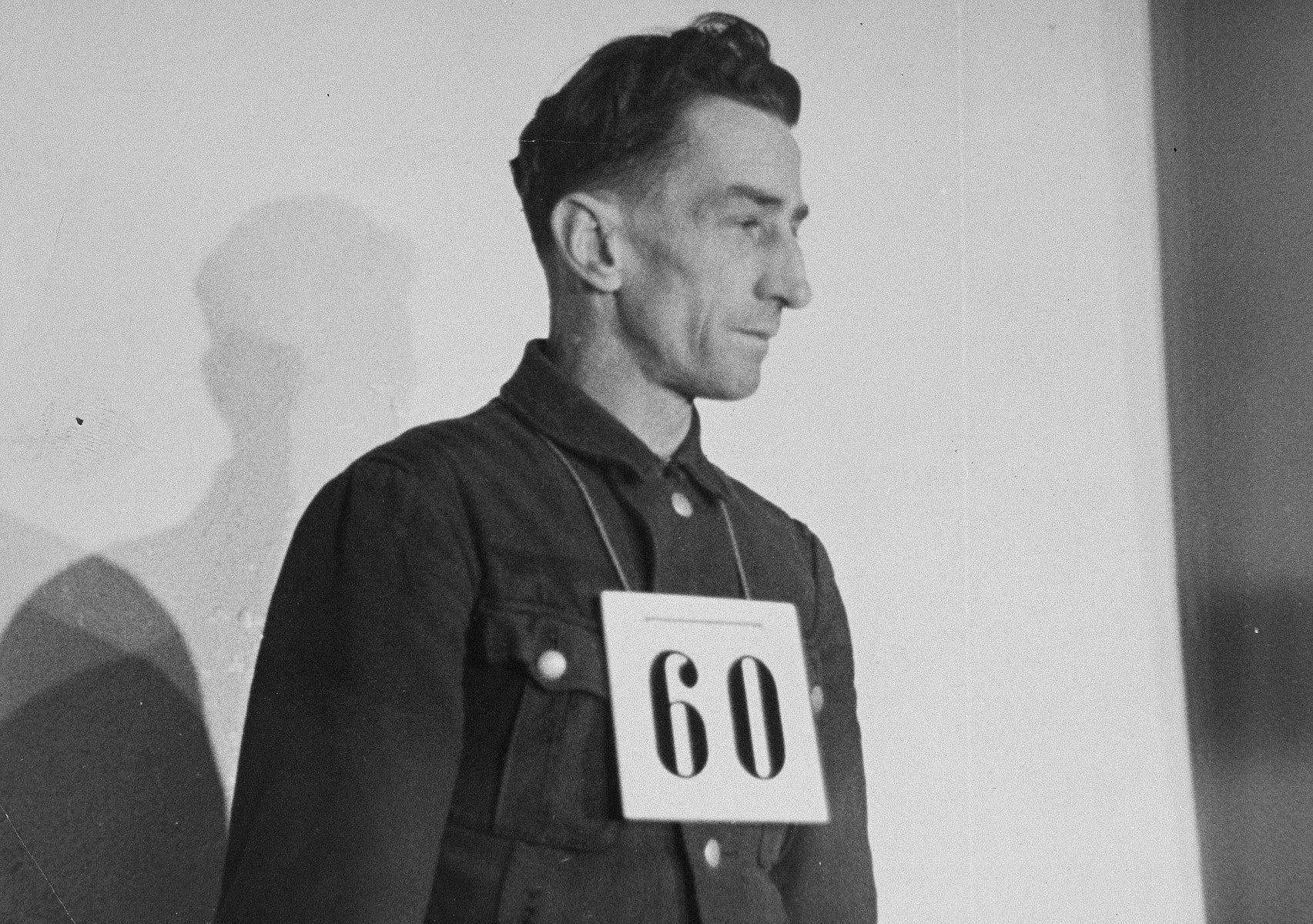 Portrait of former SS-Hauptscharfuehrer Hans Spatzenegger, a defendant at the trial of 61 former camp personnel and prisoners from Mauthausen.    Spatzenegger was convicted and sentenced to death on May 13, 1946.