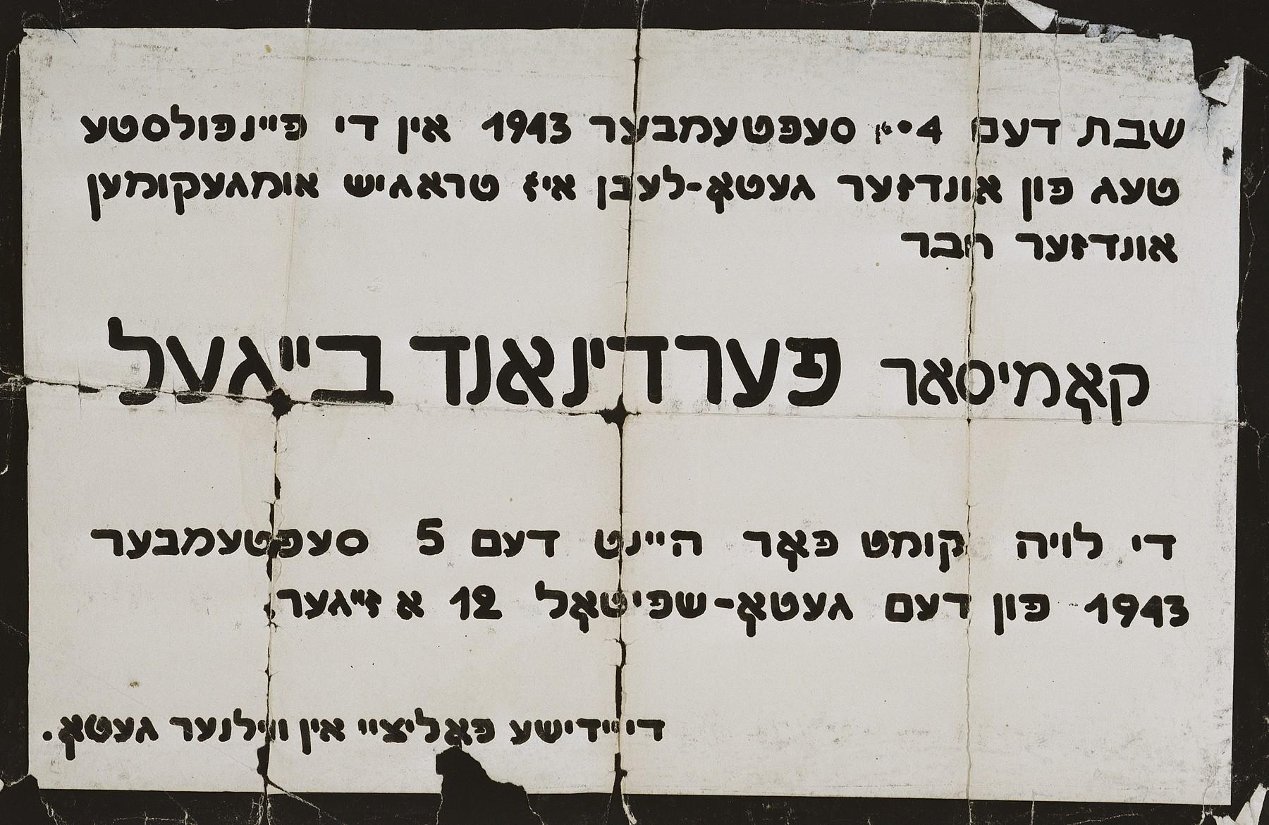 Death announcement in Yiddish for Vilna Jewish police chief Ferdinand Beigel.