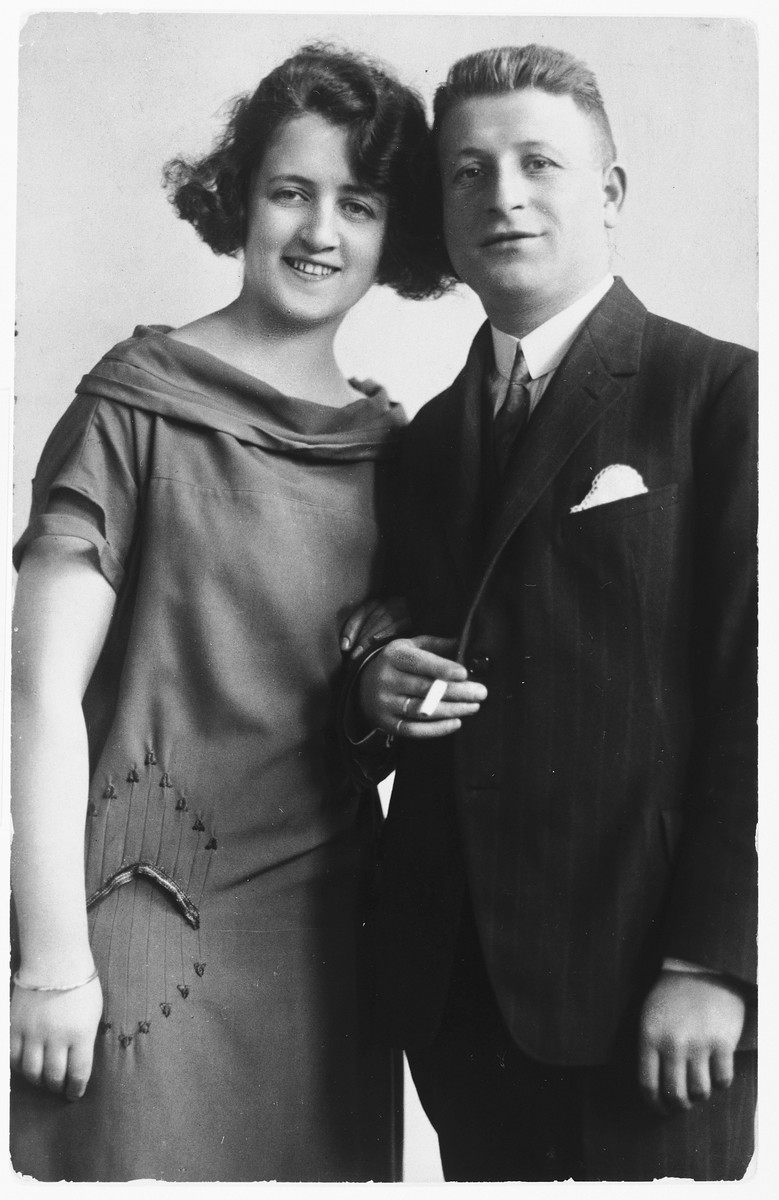 Studio portrait of Mauric and Emilie Ganger.  The Gangers were probably cousins of the Neumanns, but the exact relationship is unknown.  They were deported from Uhersky Brod to Theresienstadt on January 23, 1943.  They later were sent to Auschwitz where they perished.