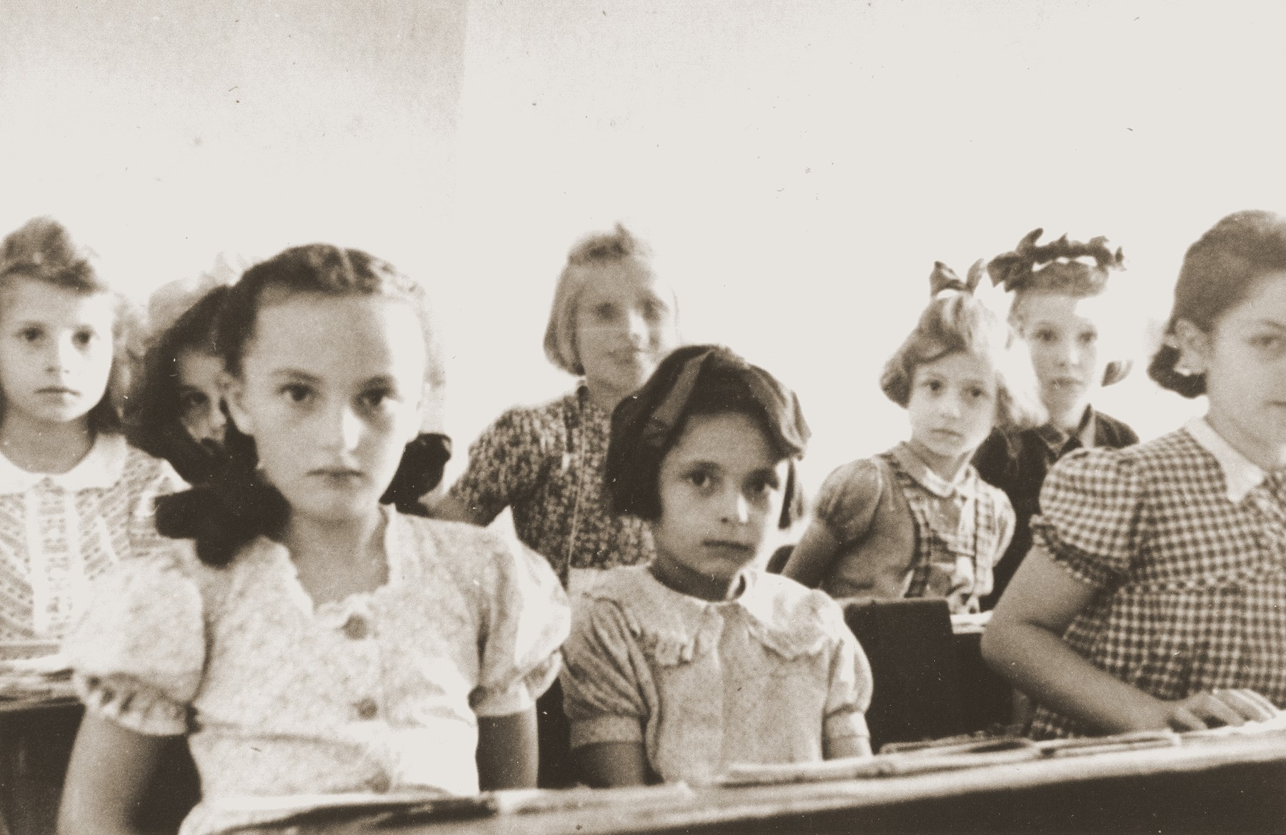Young girls in a classroom at a Jewish school in Munich.