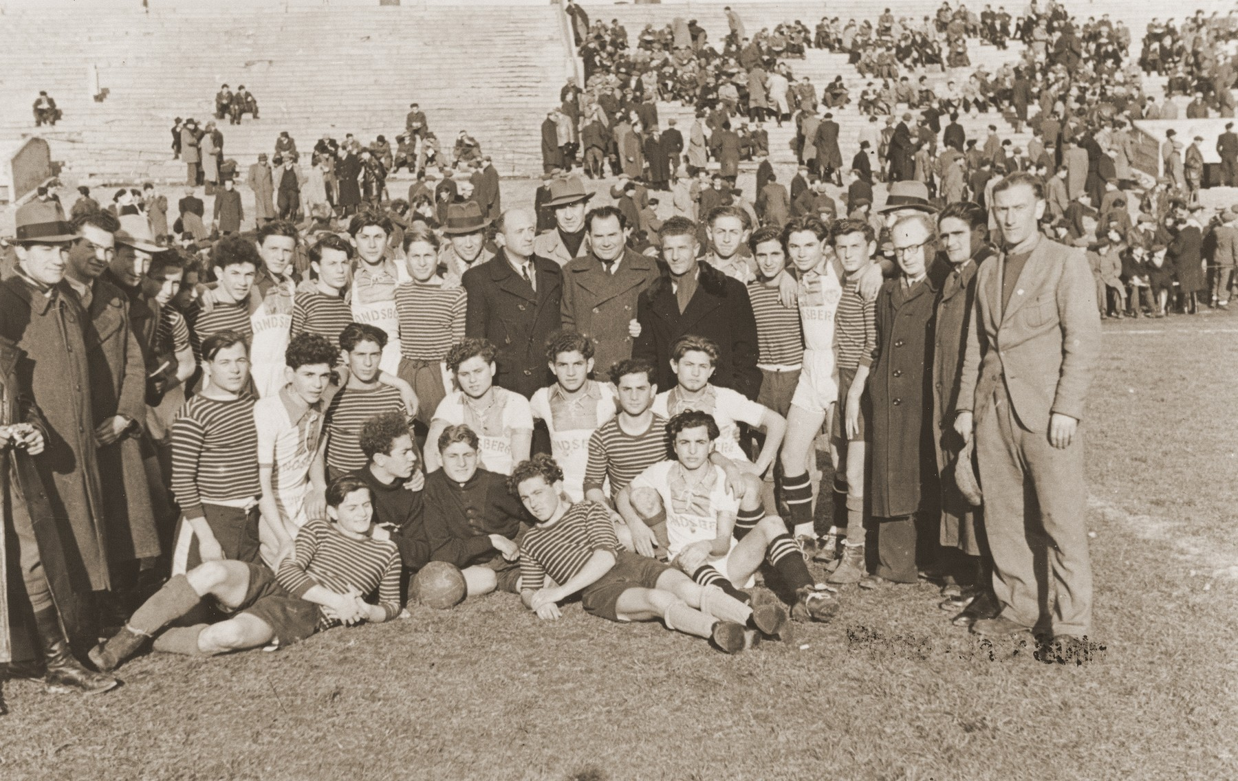 Group portrait of the soccer teams of the Landsberg and Foehrenwald displaced persons camps.