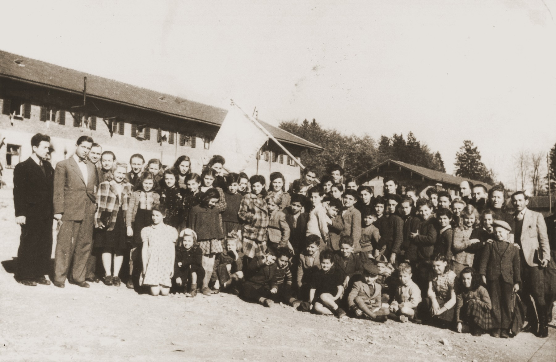 Students and teachers at the Feldafing DP camp school.