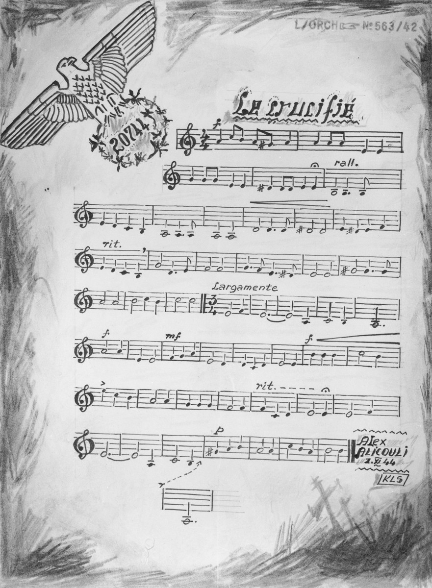 """One page of sheet music of a piece entitled """"Le crucifié"""" (The crucified) by Alex Alicouli, a pseudonym for Aleksander Kulisiewicz, and dated II.XI.44, KLS [Sachsenhausen].  The music and lyrics were written by Kulisiewicz during his imprisonment in the Sachsenhausen concentration camp.  The lyrics were originally composed in Polish, and the piece was titled """"Ukrzyzowany 1944.""""  Subsequently, it was translated into French.  The piece was inspired by a report Kulisiewicz received from members of the French resistance upon their arrival in Sachsenhausen, about an incident that took place in Presles, France (near Nice) in the summer of 1944.  According to their account, Germans stormed a resistance safe house in the town, where they found and tortured to death a three-year-old boy."""