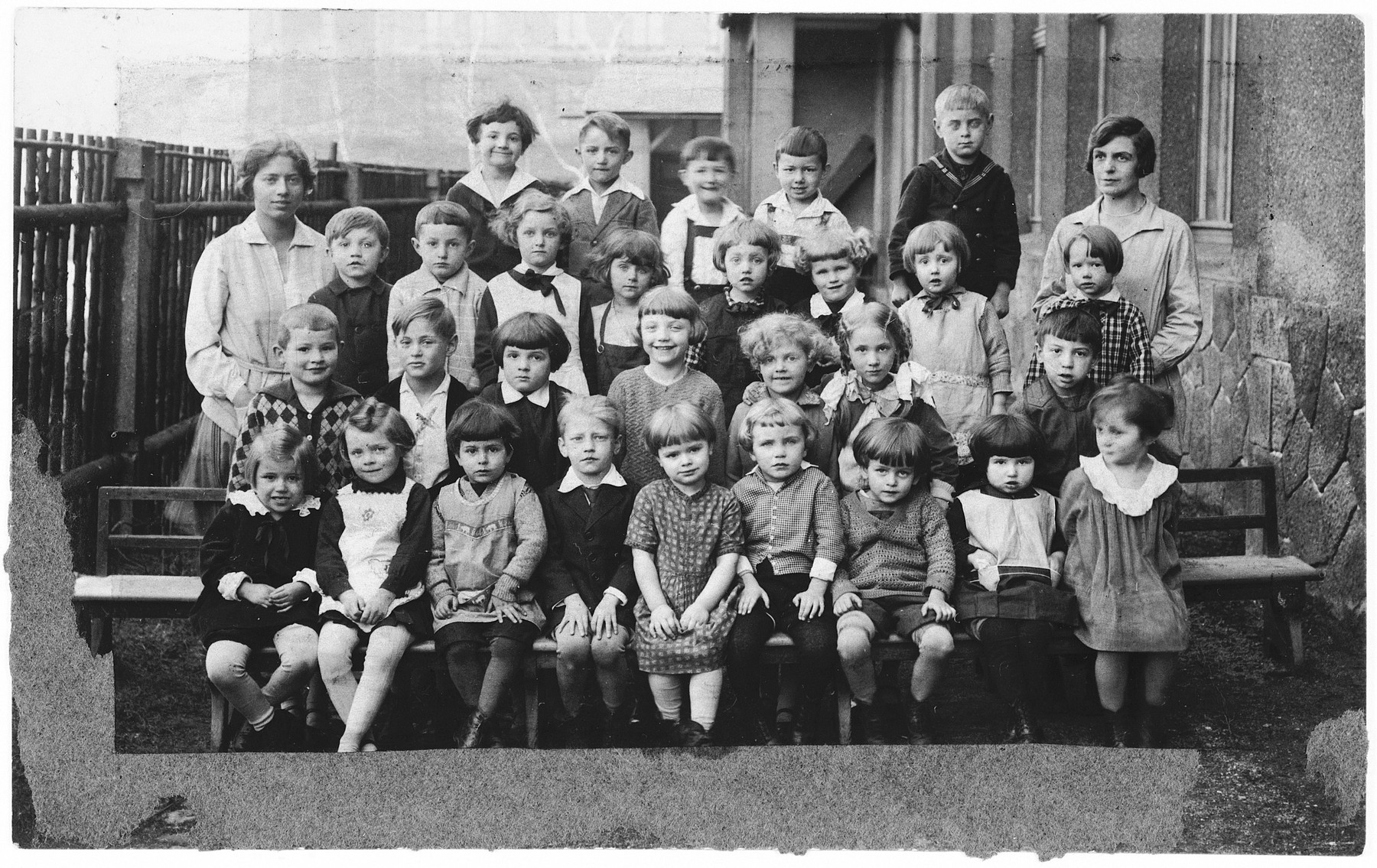 Group portrait of Czech and Jewish children in a kindergarten in Karlsbad, Czechoslovakia.  Among those pictured is Edgar Krasa.