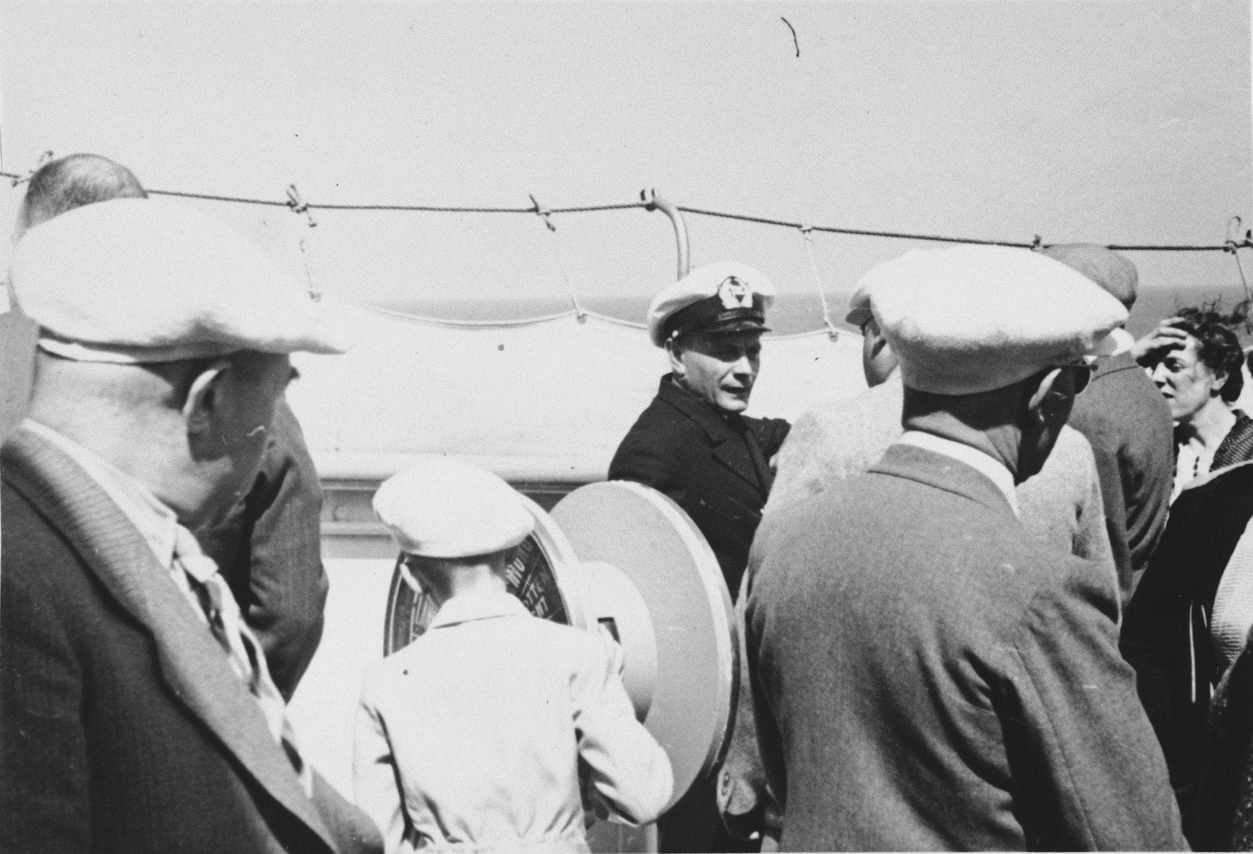 Passengers and crew on board the St. Louis.