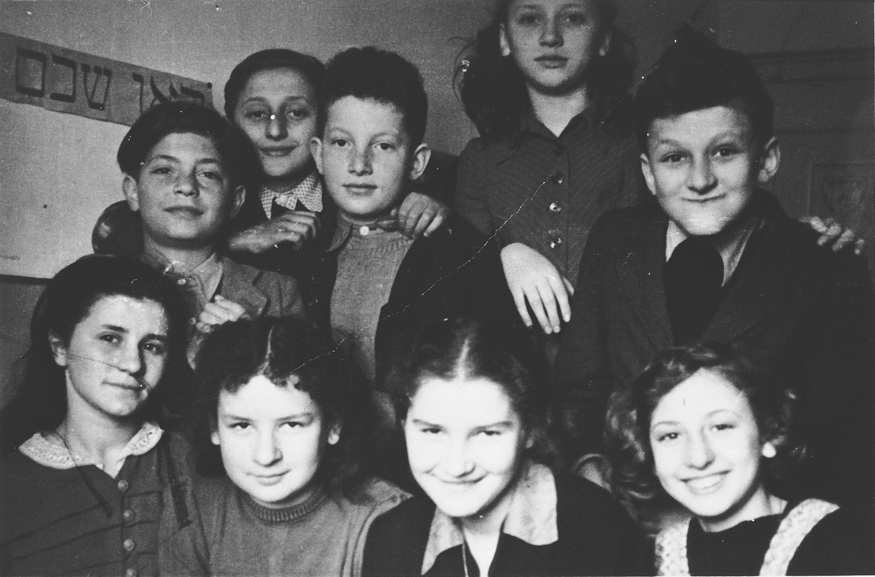 School children in the Stuttgart displaced persons' camp.  Pictured on the bottom left is Basche.